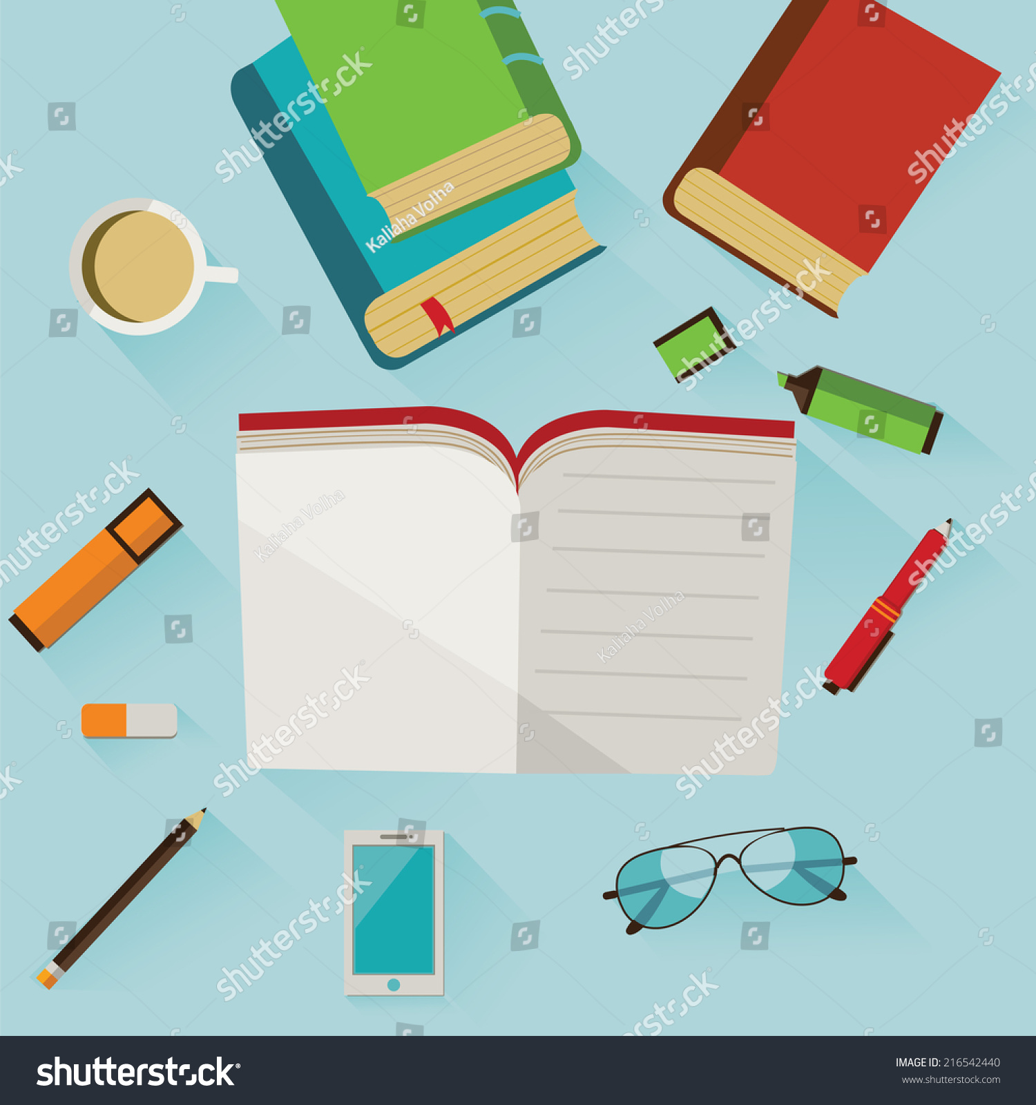Reading Infographics Books Pen Pencil Markers Stock Vector Royalty How To Read Cellphones Schematic Diagrams With Eraser Cup Of Coffee