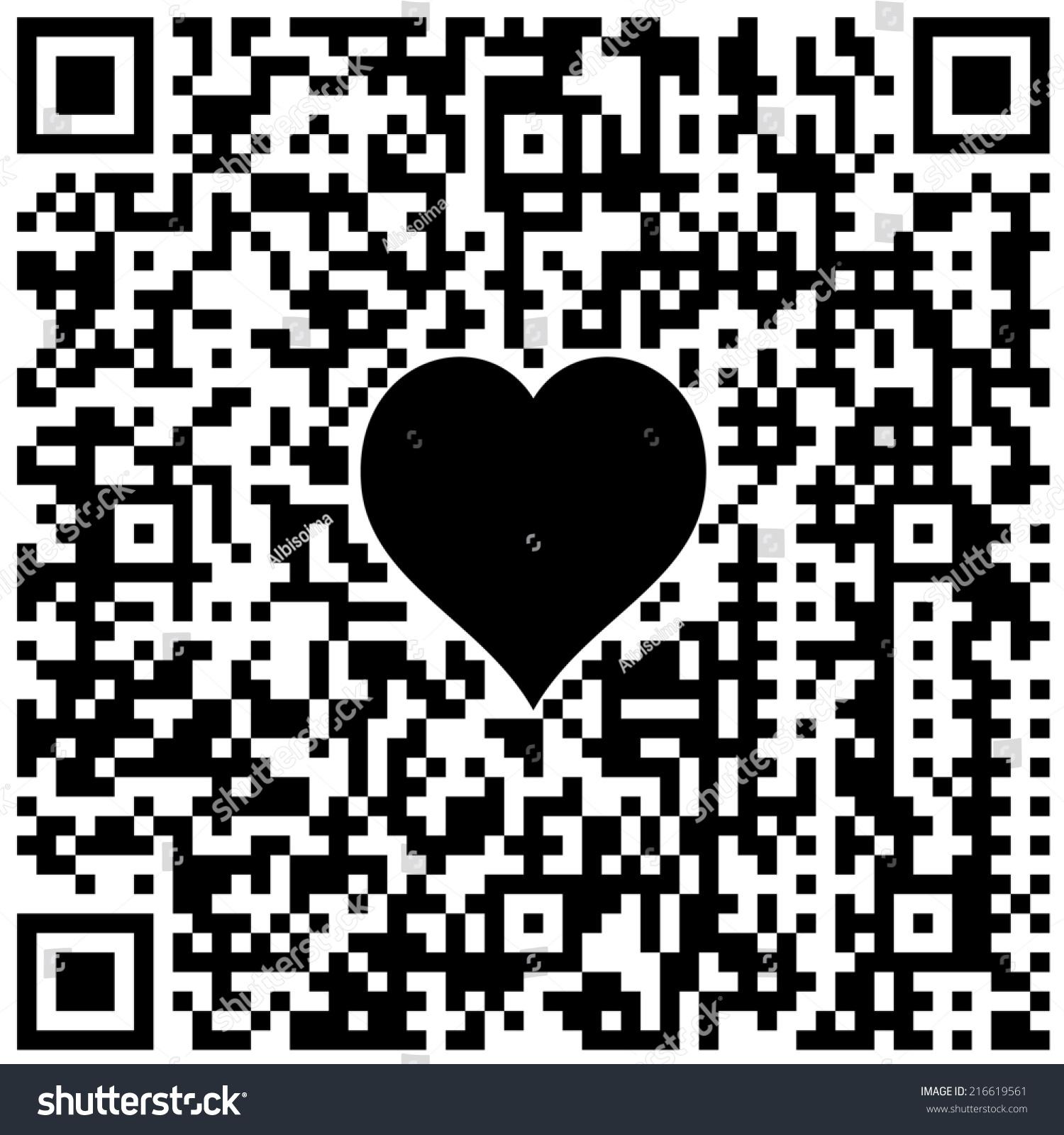Qr code symbol heart hidden text stock illustration 216619561 qr code with symbol of heart and hidden text i love buycottarizona Choice Image