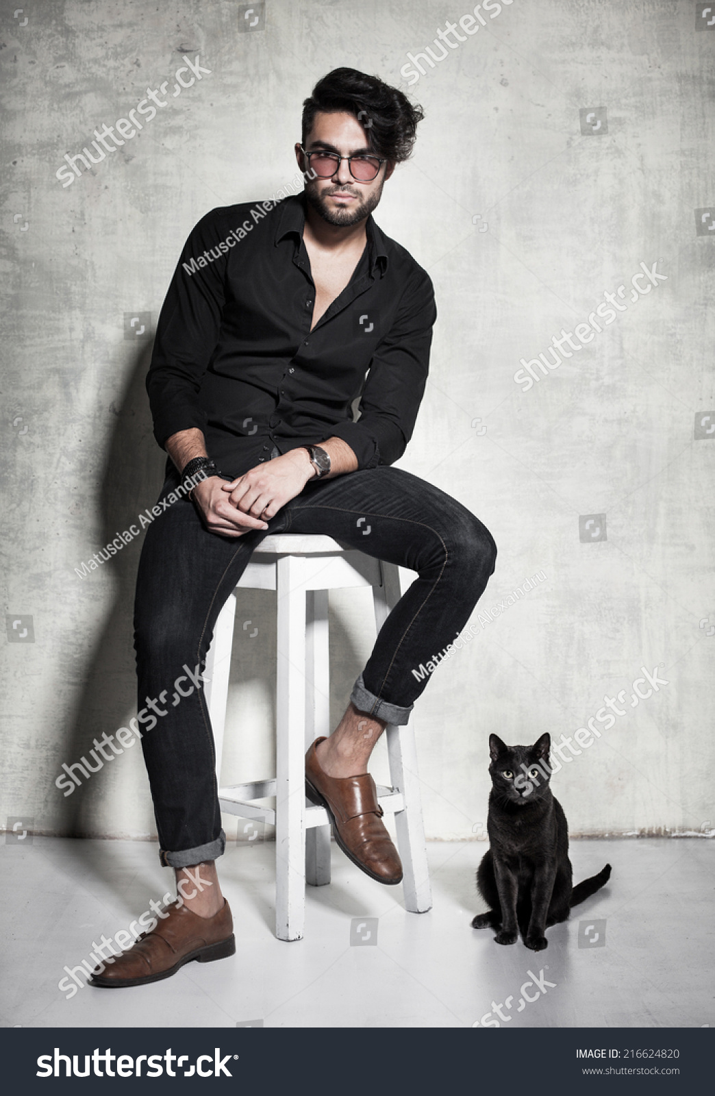 Sexy Fashion Man Model Dressed Casual Stock Photo ...