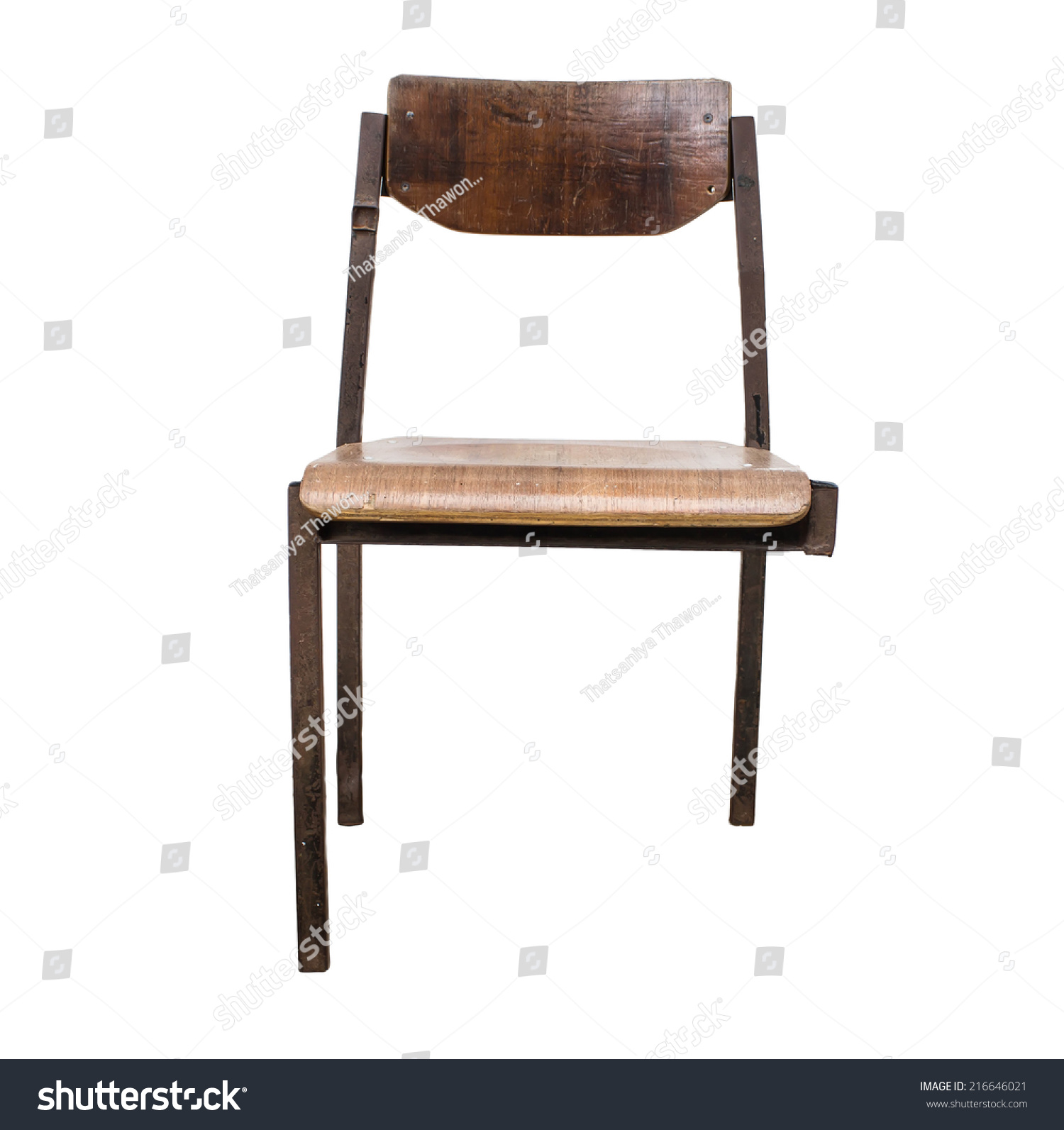 Old Broken Wooden Chair Isolated On White Background
