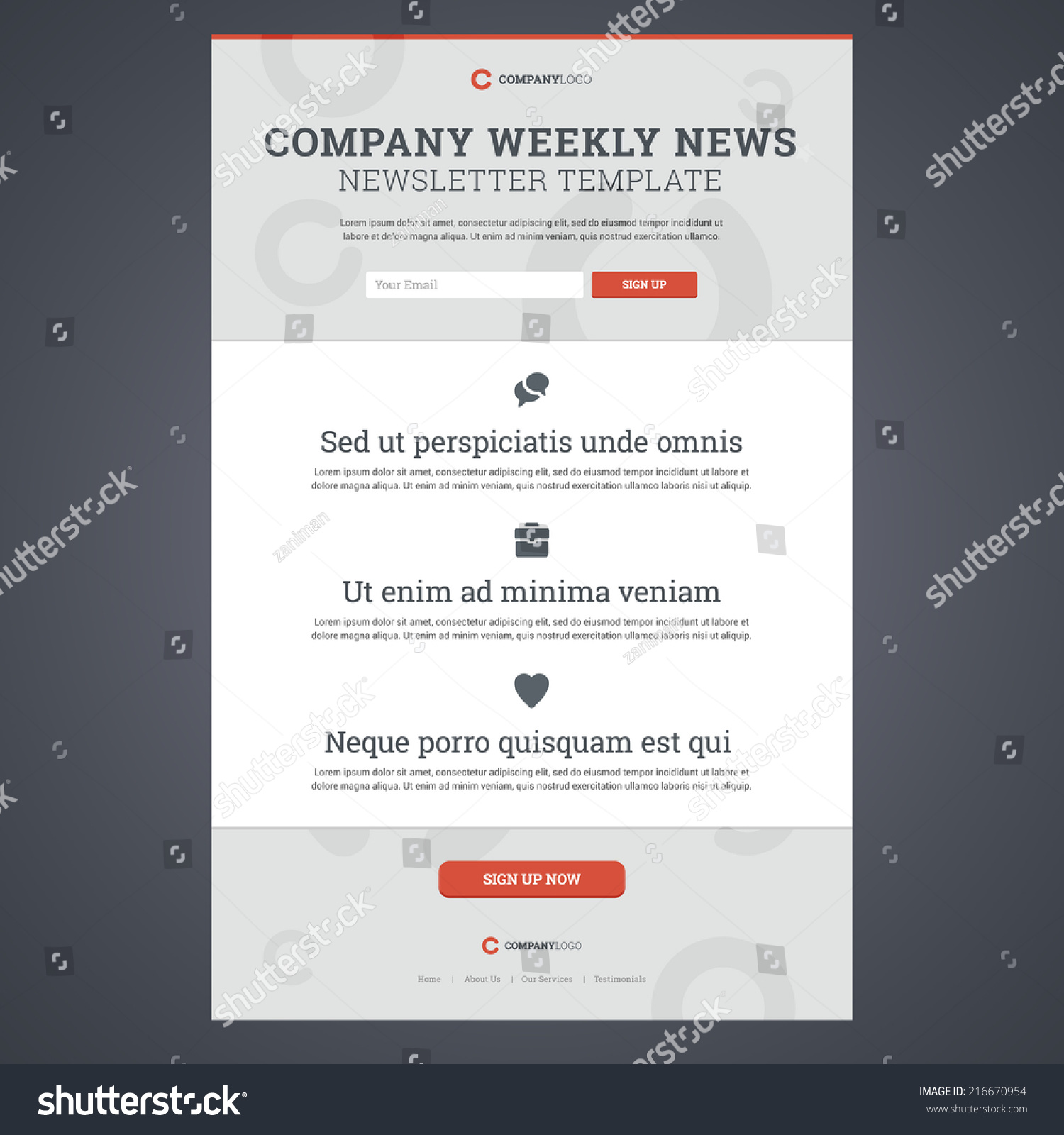 pany News Newsletter Template With Sign Up Form Vector