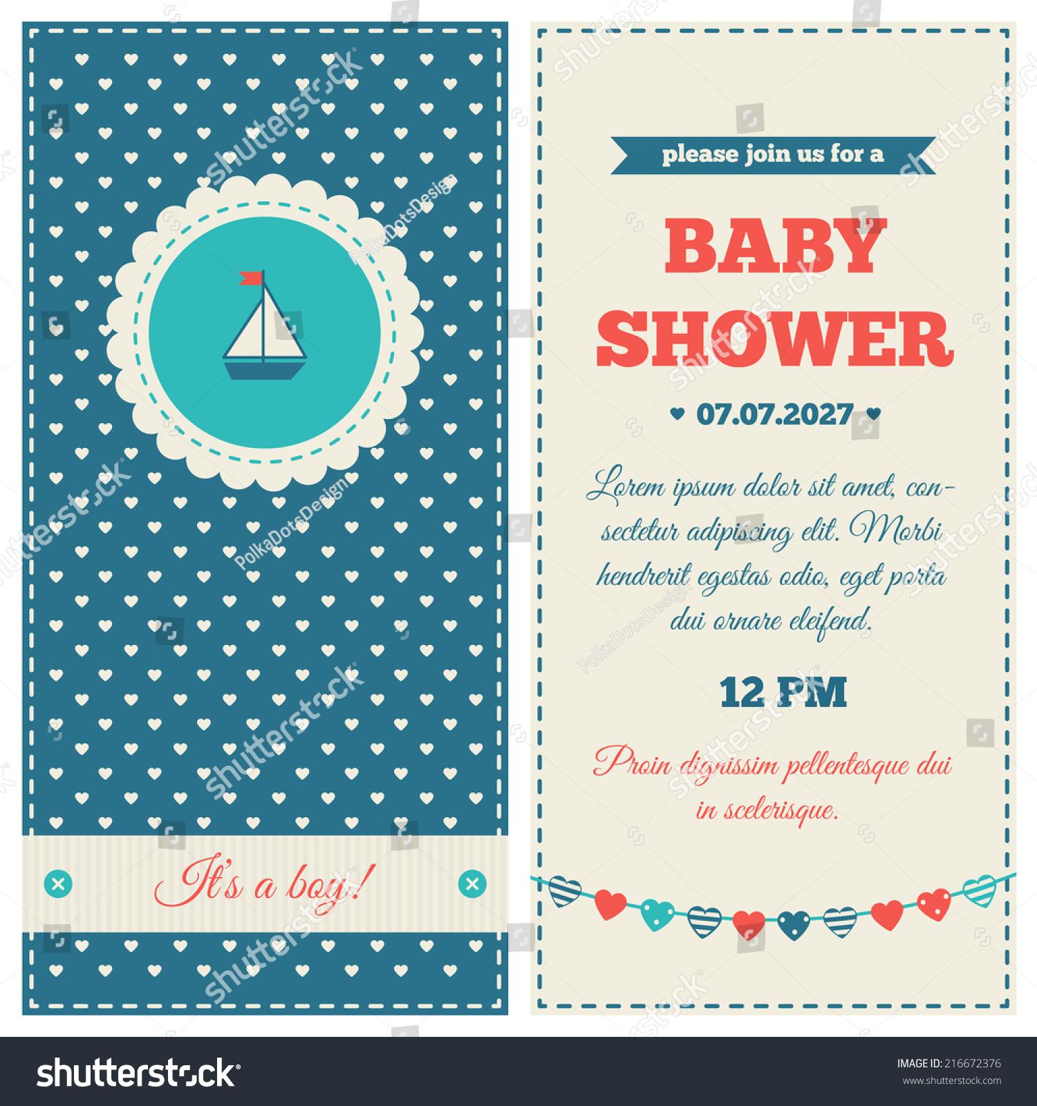 Baby Shower Invitation Marine Design Blue Stock Vector 216672376 ...