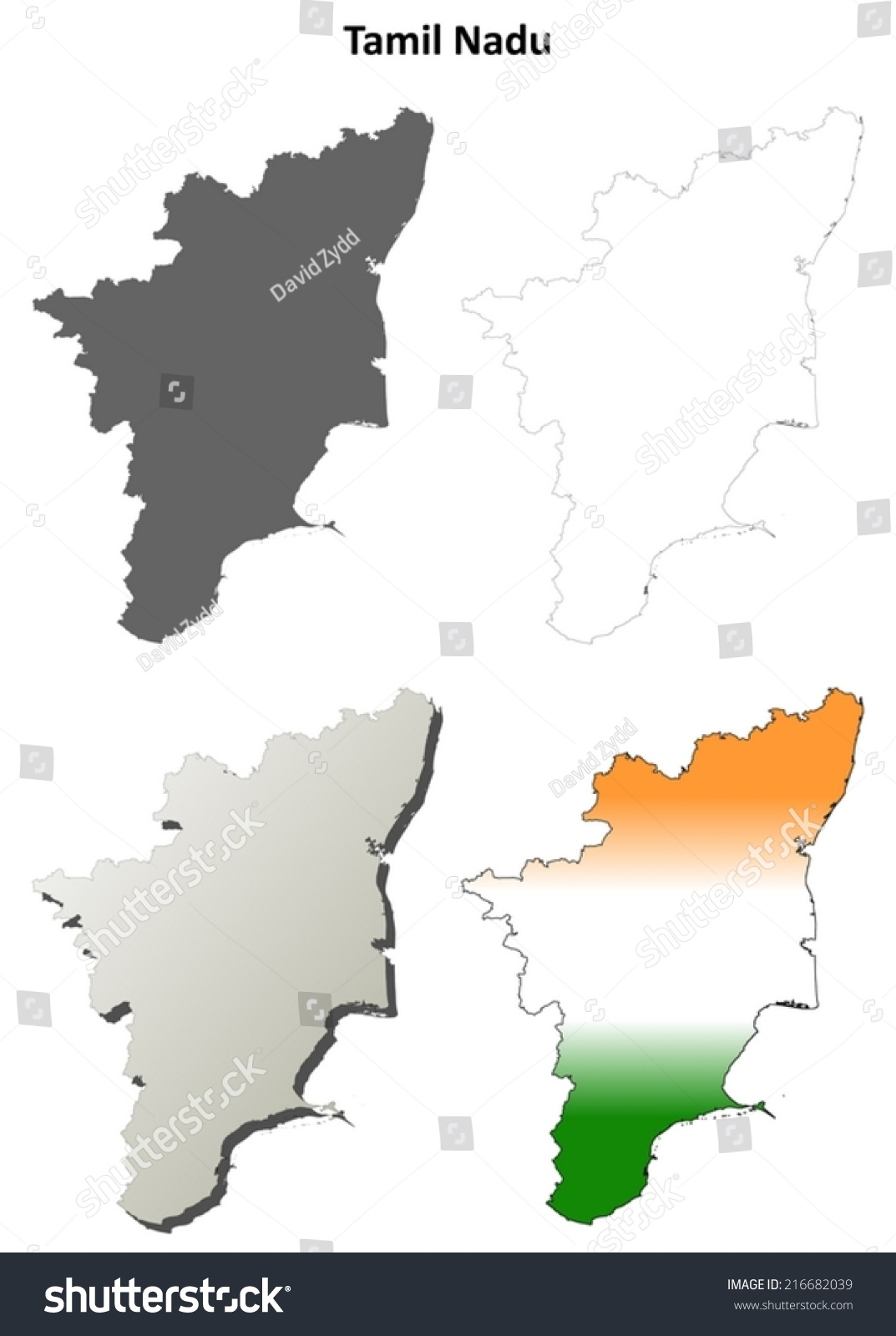 Tamil Nadu Blank Detailed Outline Map Set - Vector Version - 216682039 ...