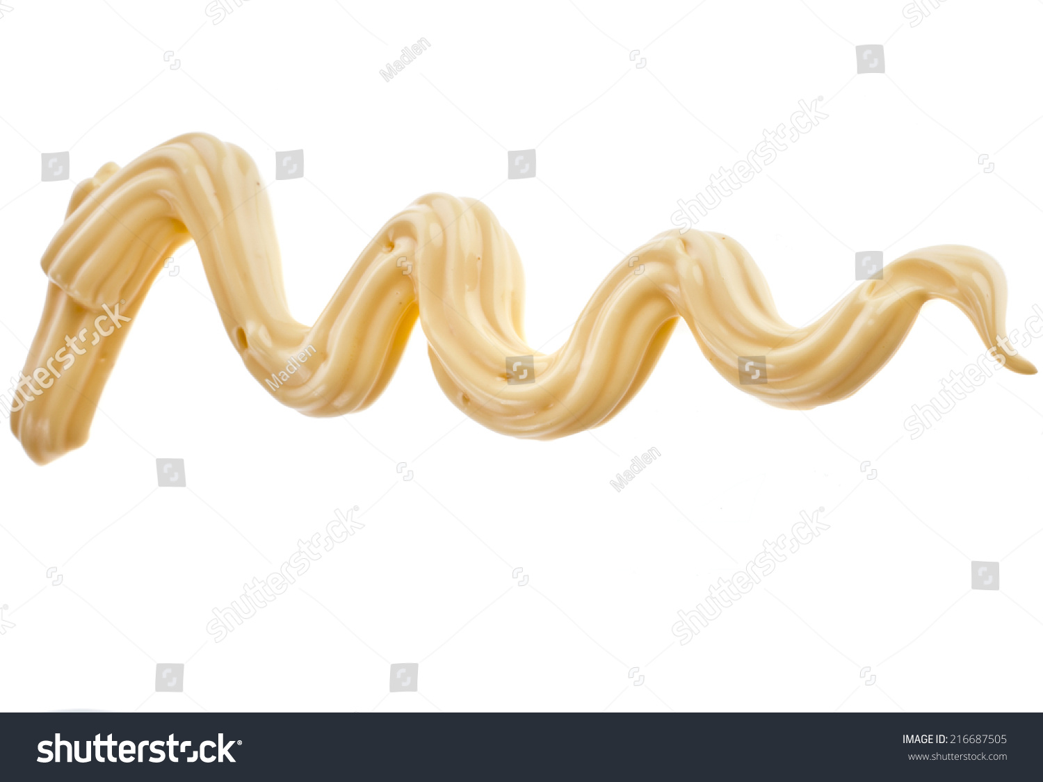 Decoration Zigzag Cheese Sauce Isolated On Stock Photo (Edit Now