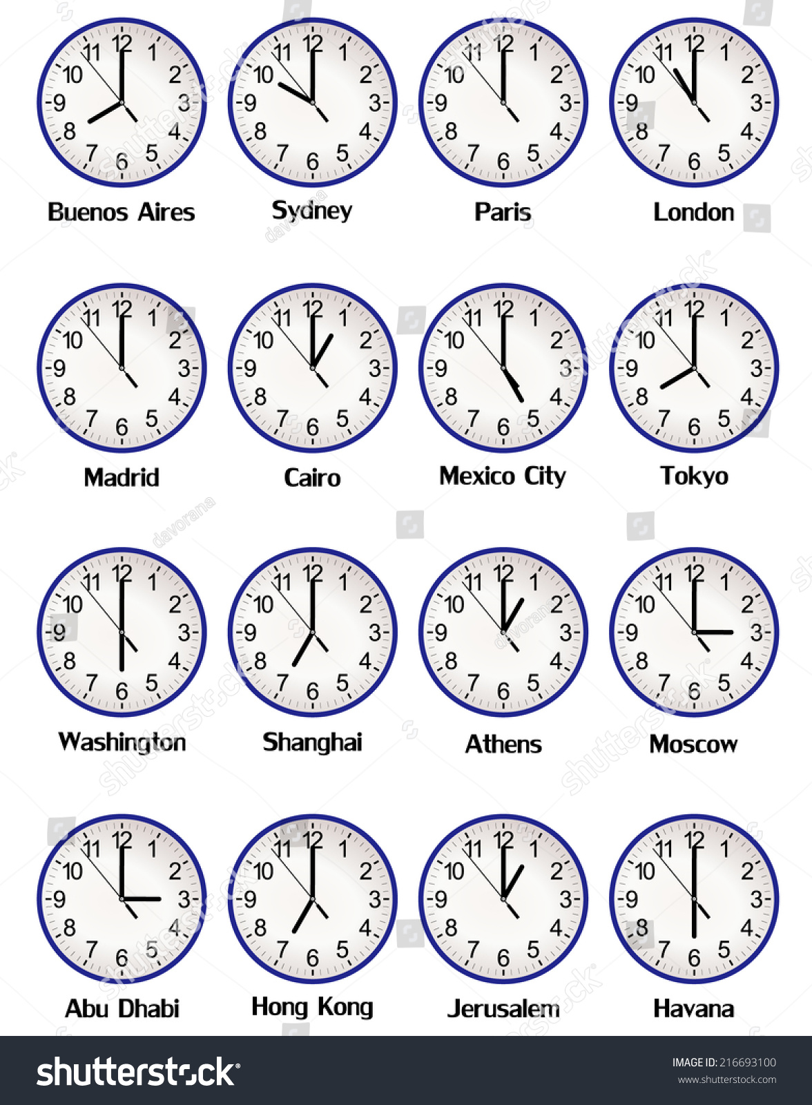 World clock time difference major cities stock vector 216693100 world clock time difference in major cities on blue office clocks vector art image amipublicfo Choice Image