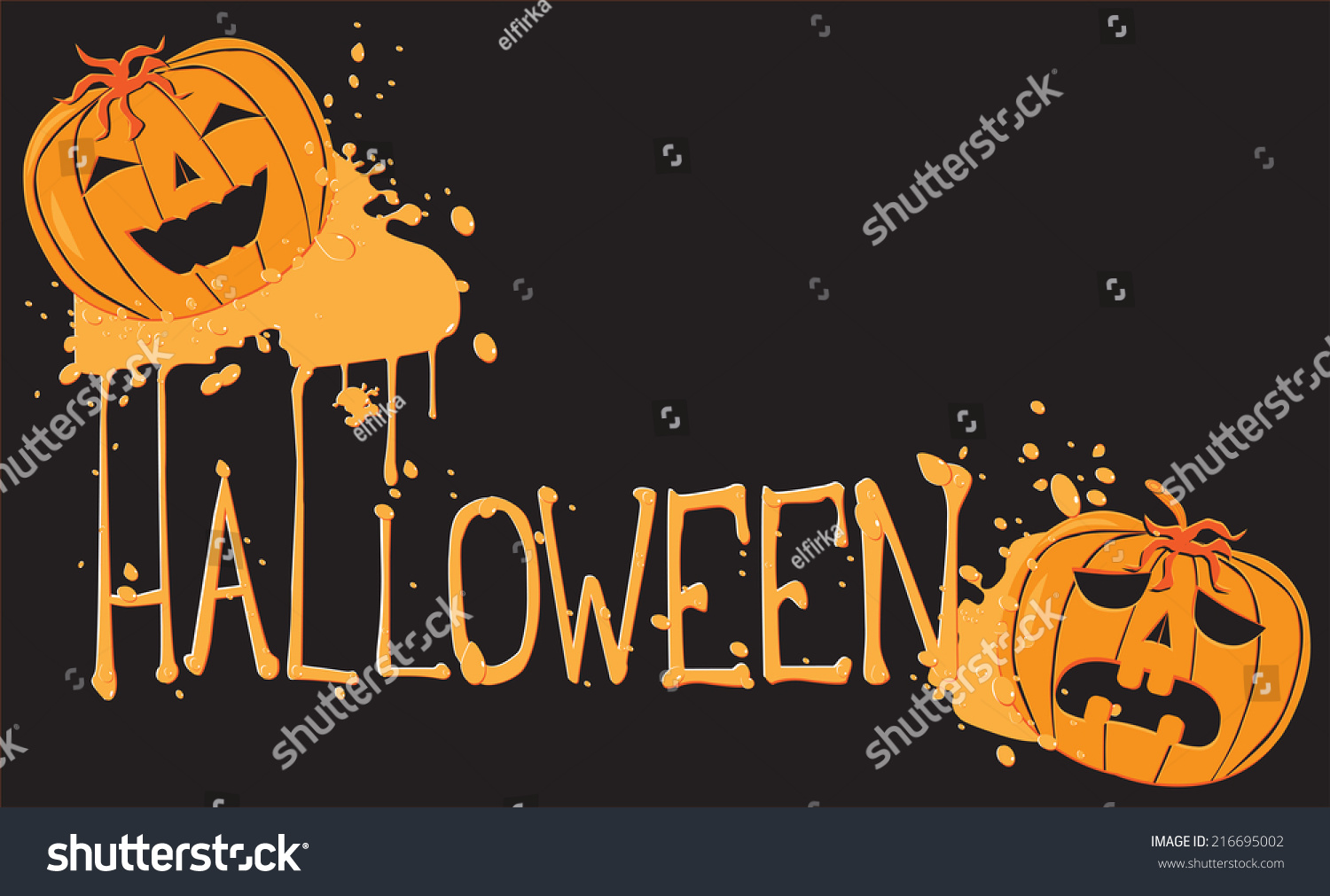 Funny Halloween Text Pumpkins Stock Vector 216695002 - Shutterstock