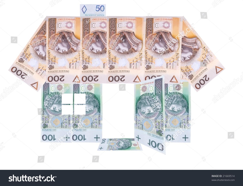 Many Hundred Polish Zloty Banknotes House Stock Illustration