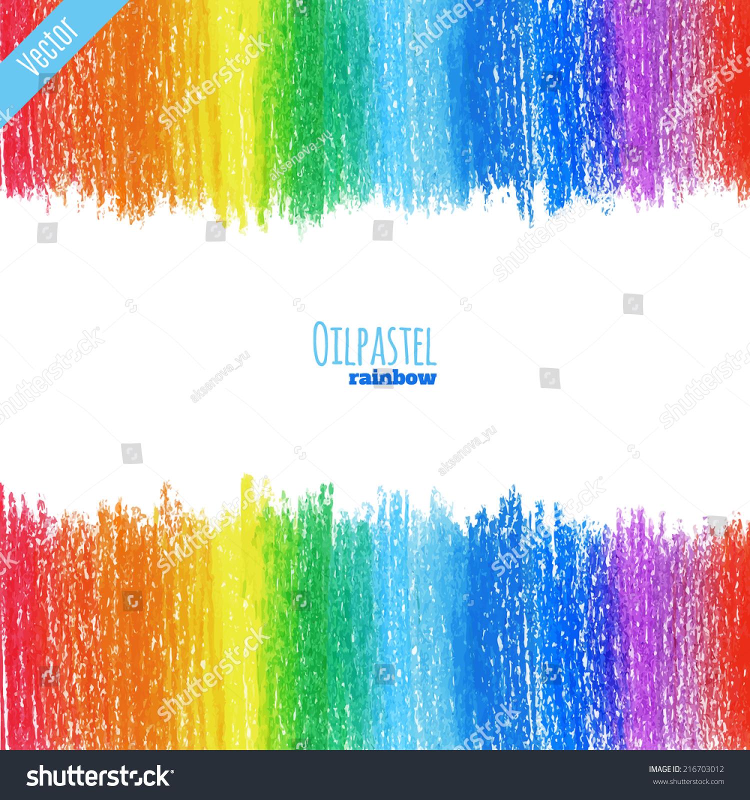 Handpaint Oil Pastel Rainbow Background Stock Vector ...