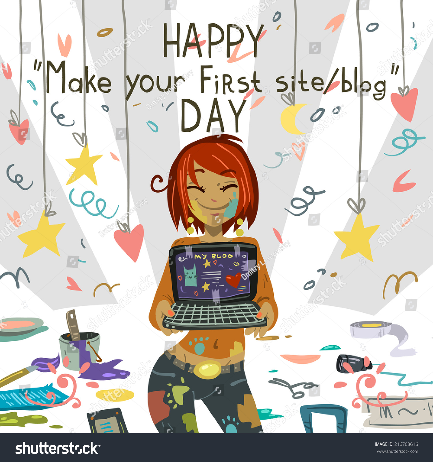 Happy Make Your First Site Blog Stock Vector 216708616 Shutterstock