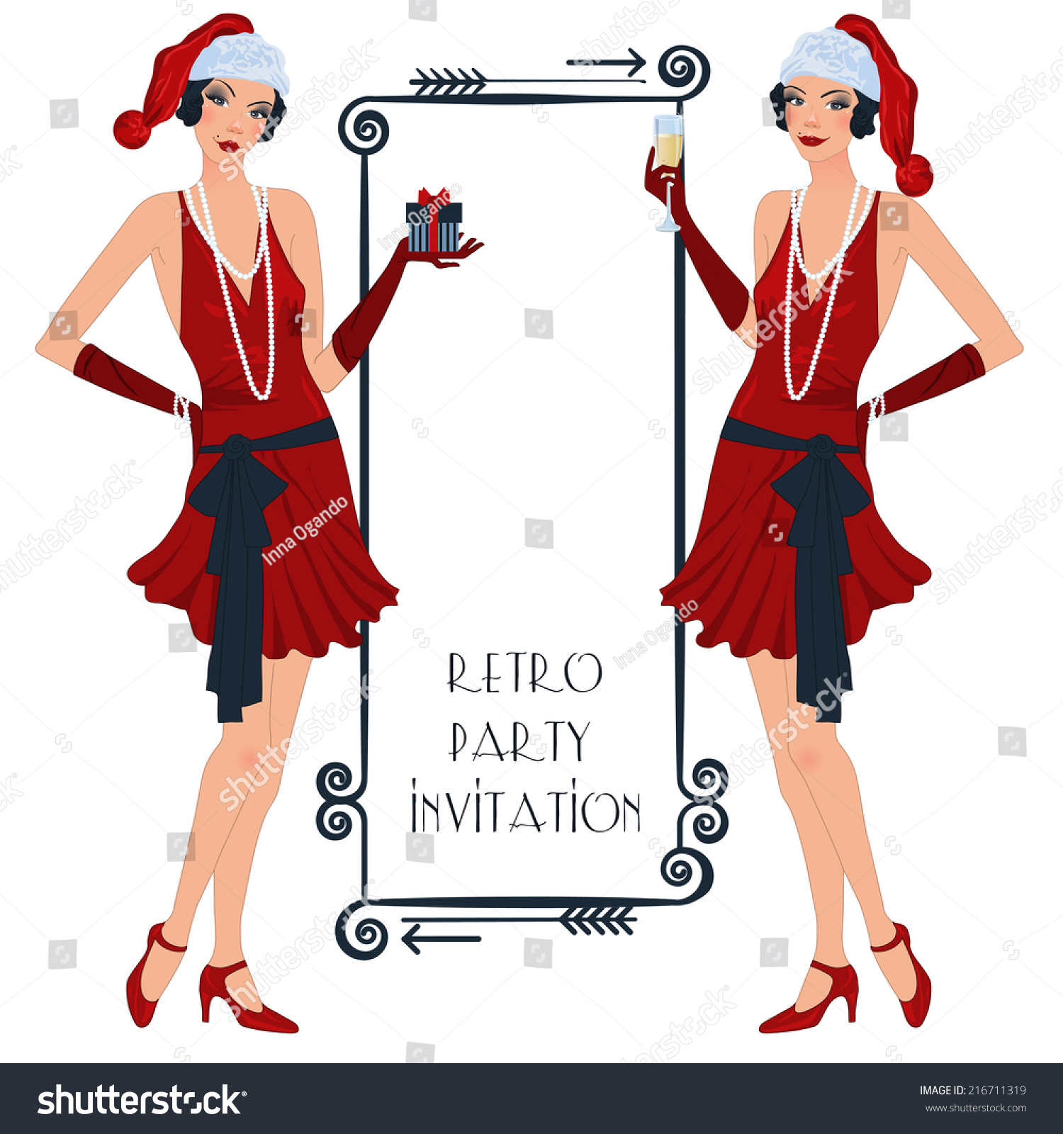 Retro Background Flapper Girl Retro Christmas Stock Vector 216711319 ...