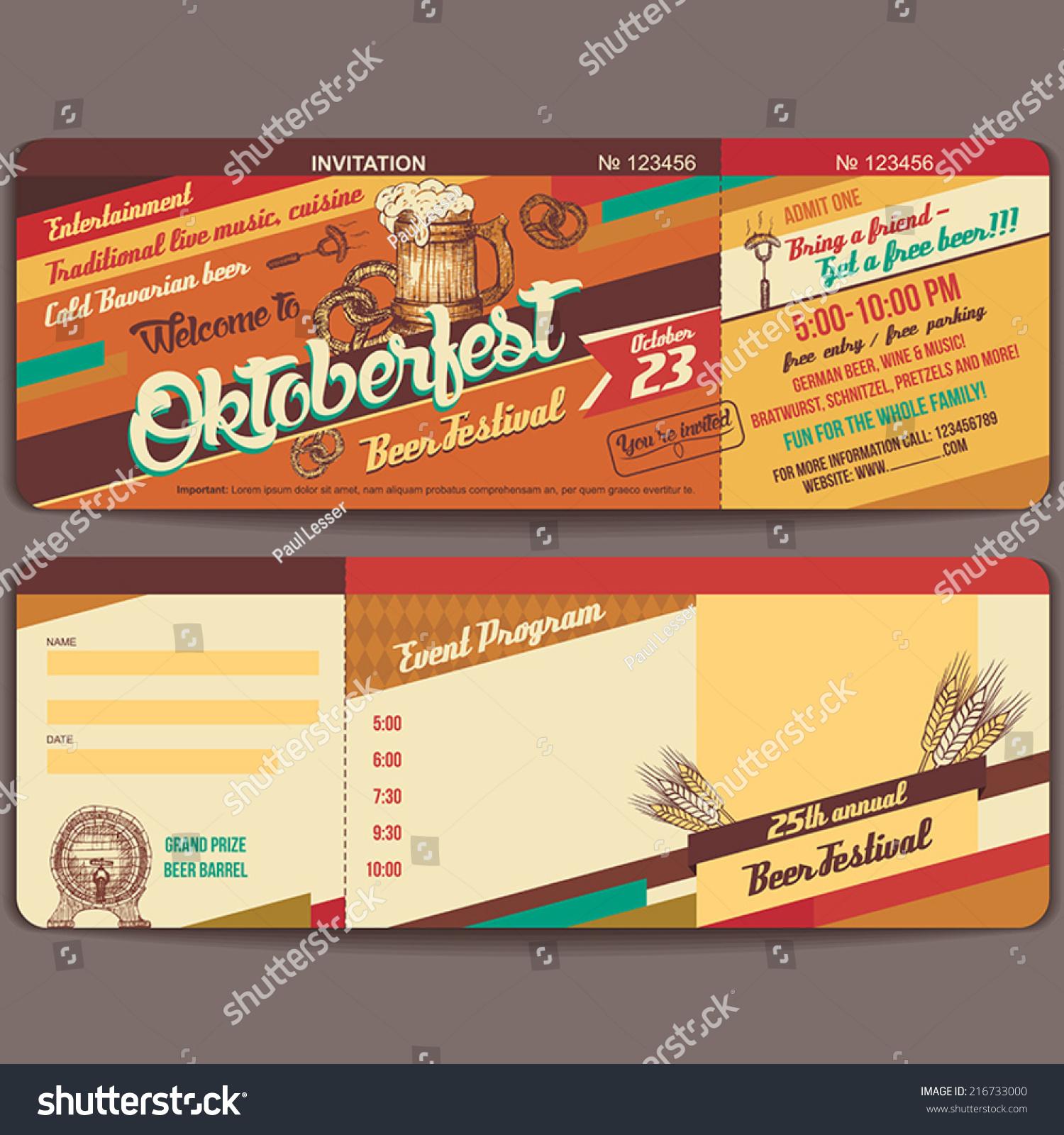 Oktoberfest German Beer Festival Invitation Vintage Vector – Invitation Ticket Template