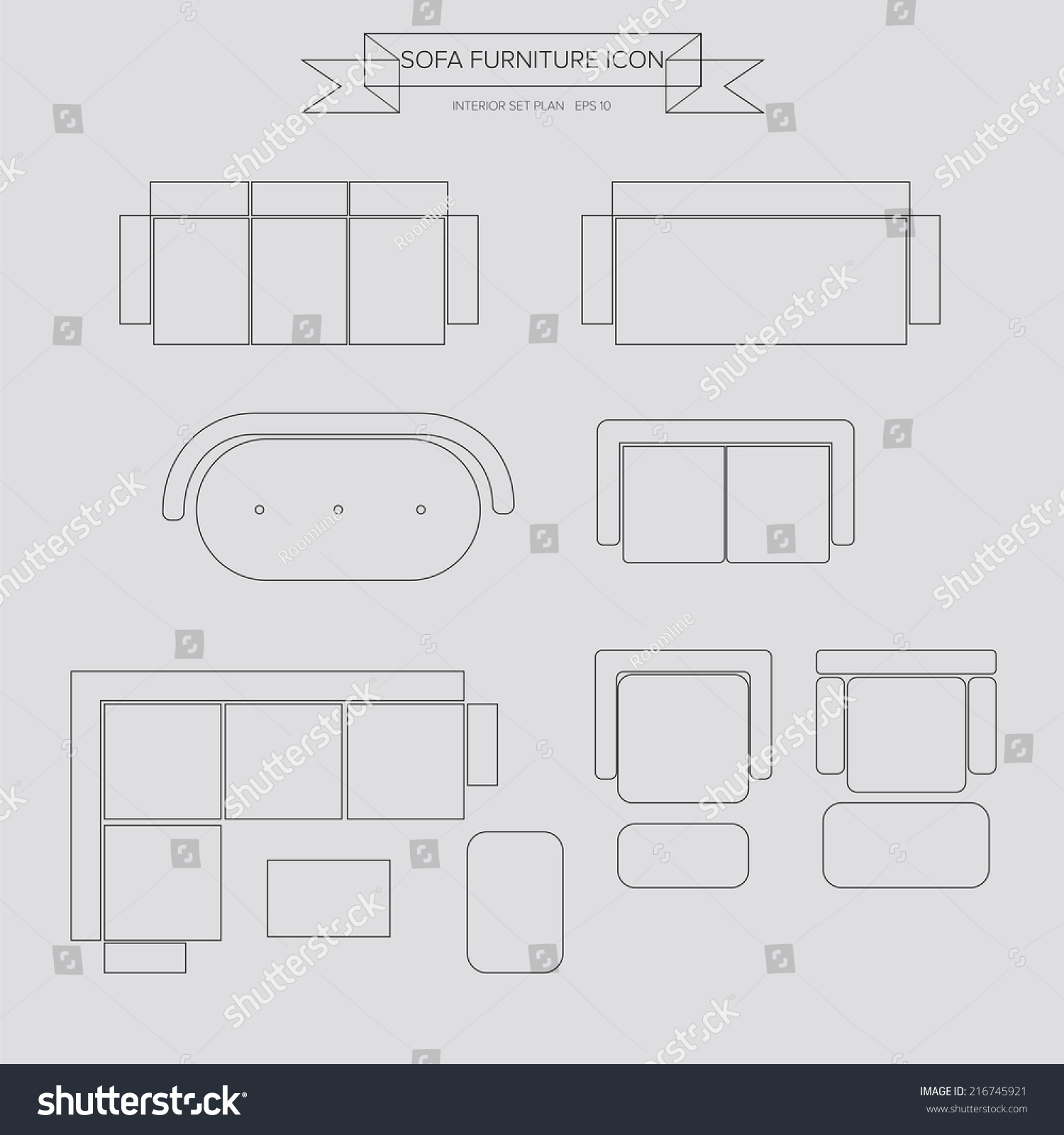 Sofa Furniture Outline Icon Top View Stock Vector HD (Royalty Free ... for Sofa Clipart Top View  588gtk