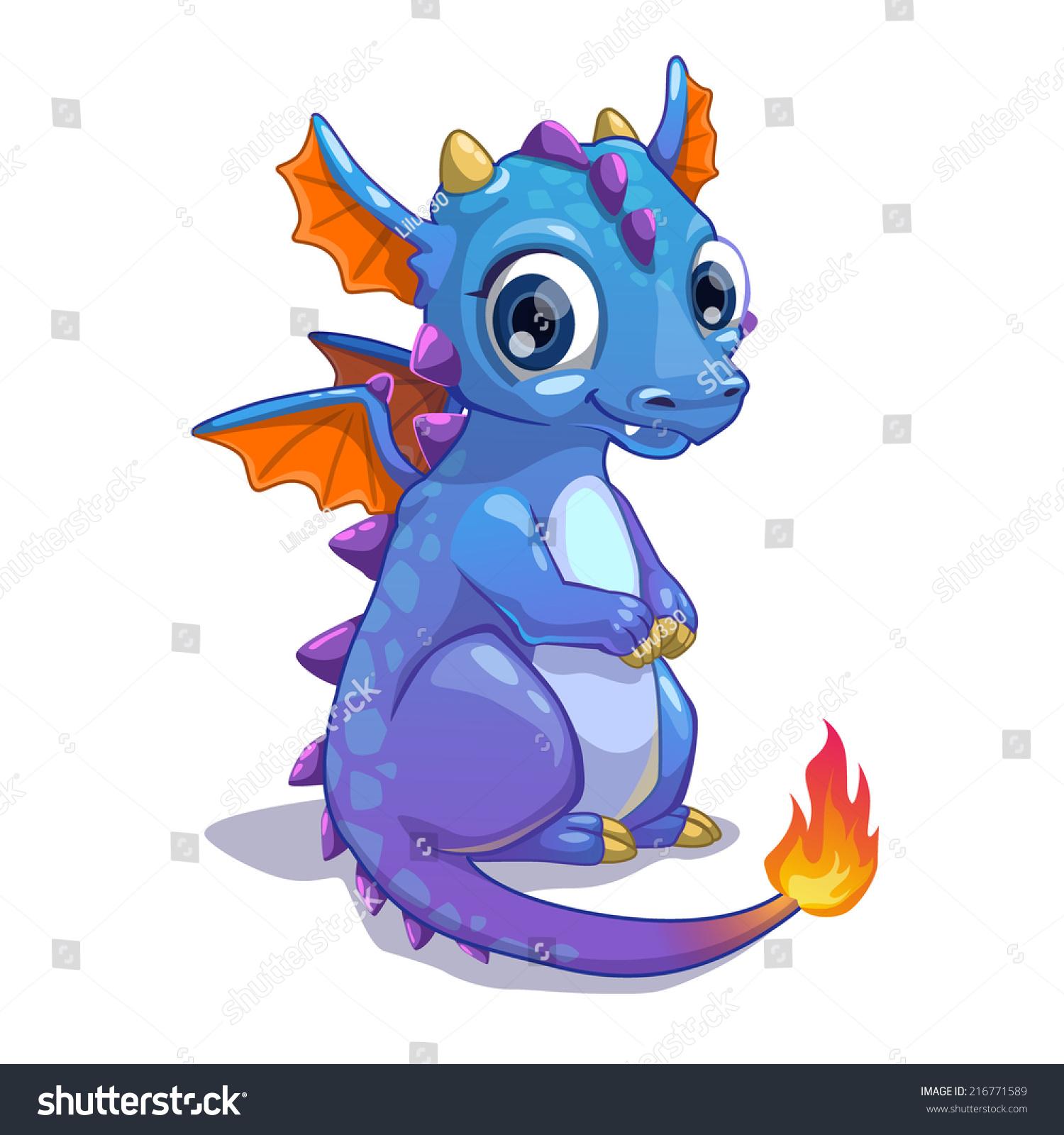 Cute Blue Cartoon Dragon Fire On Stock Vector 216771589