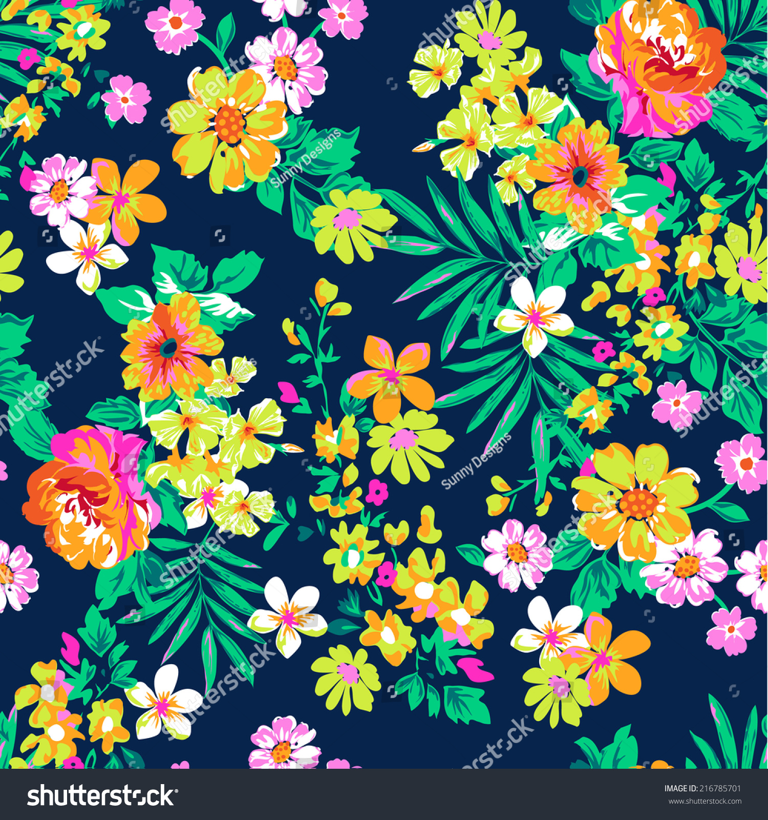 Neon Bright Floral Print ~ Seamless Vector Background ...