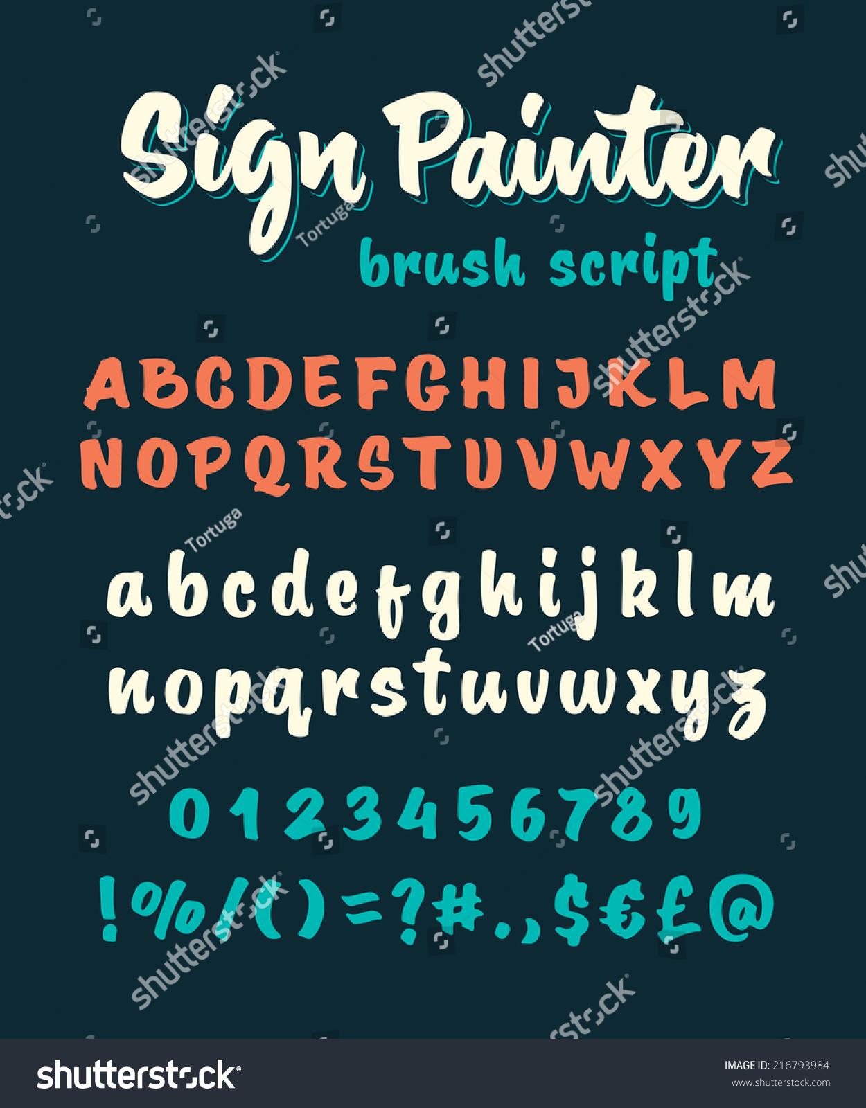 retro vector sign painter brush script lettering font handwritten calligraphic alphabet