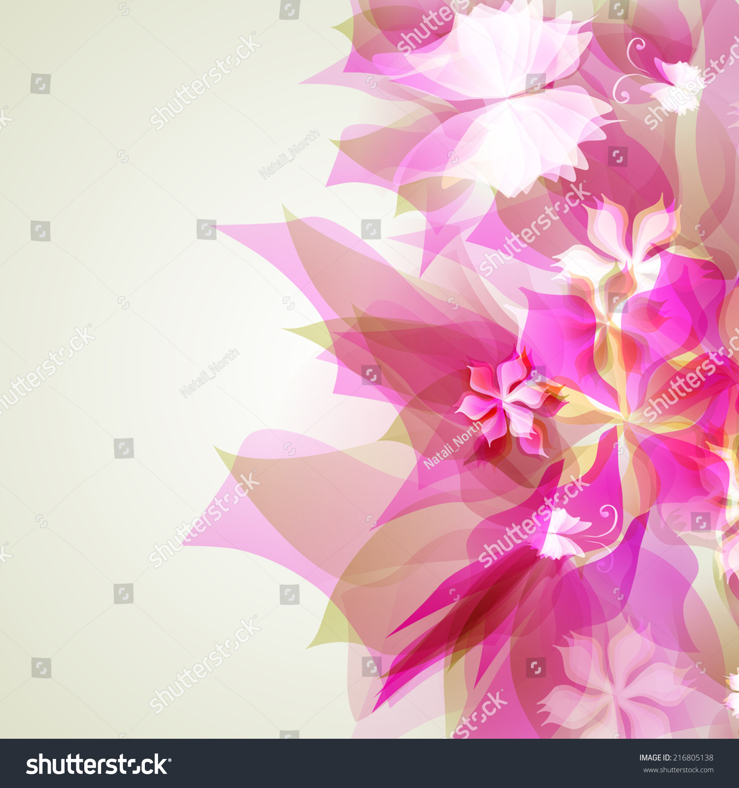 Illustrator Abstract Artistic Background Pink Floral Stock