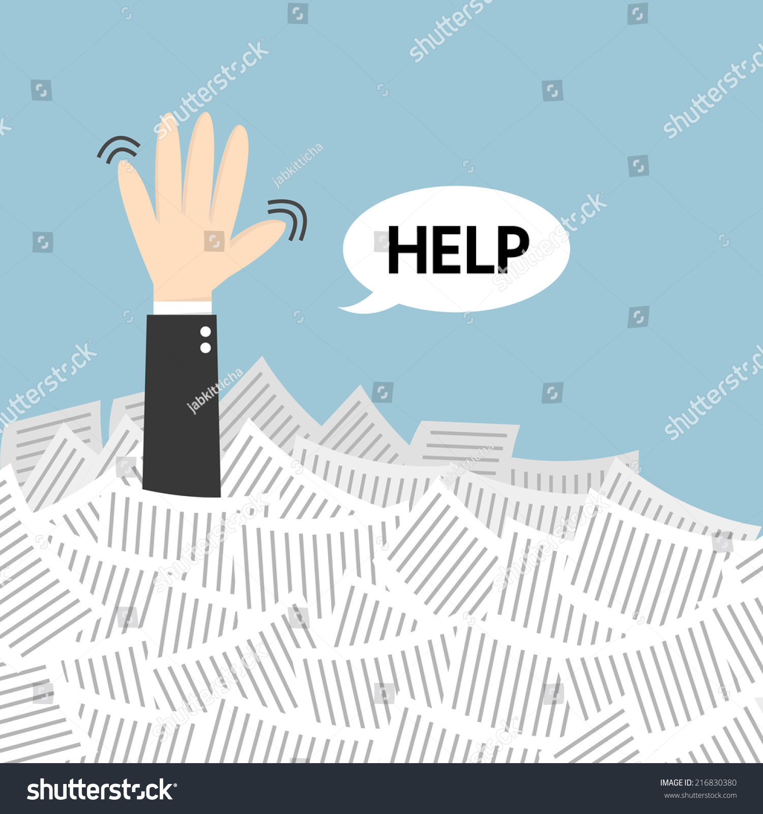 businessman need help under white paper stock vector  businessman need help under a lot of white paper flat design