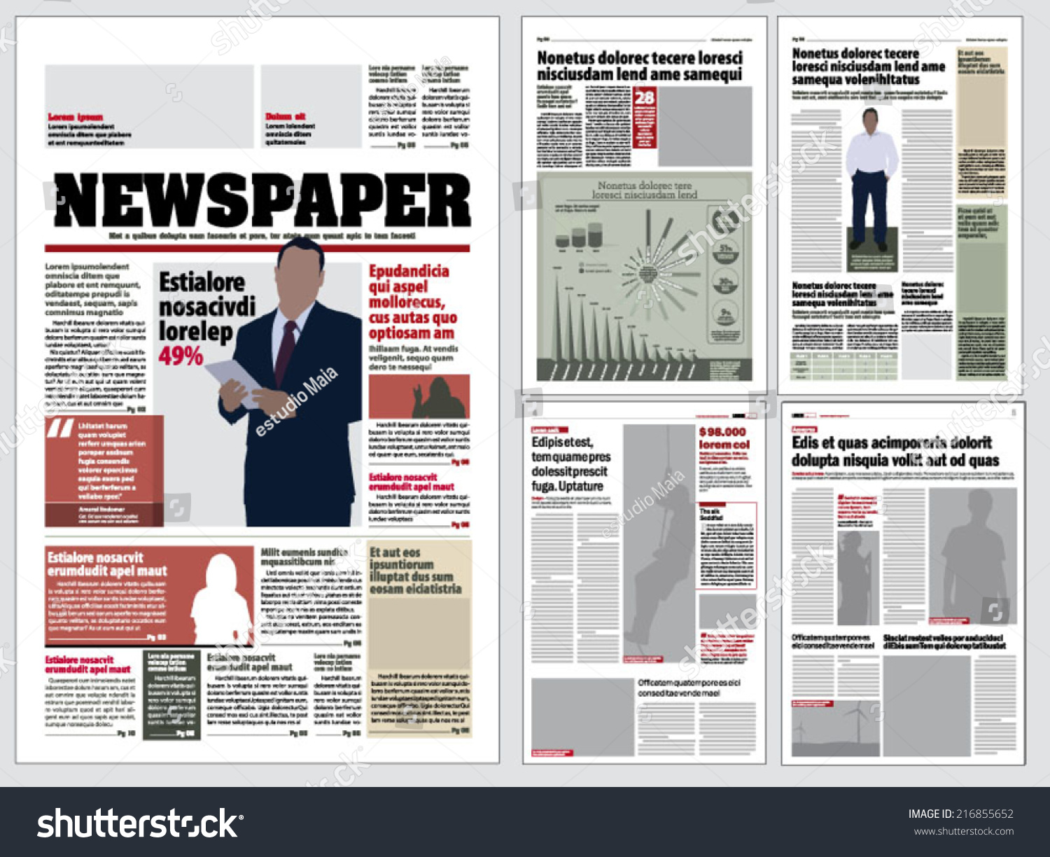 Graphical Layout Newspaper Template Vector 216855652 – Newspaper Layout Template