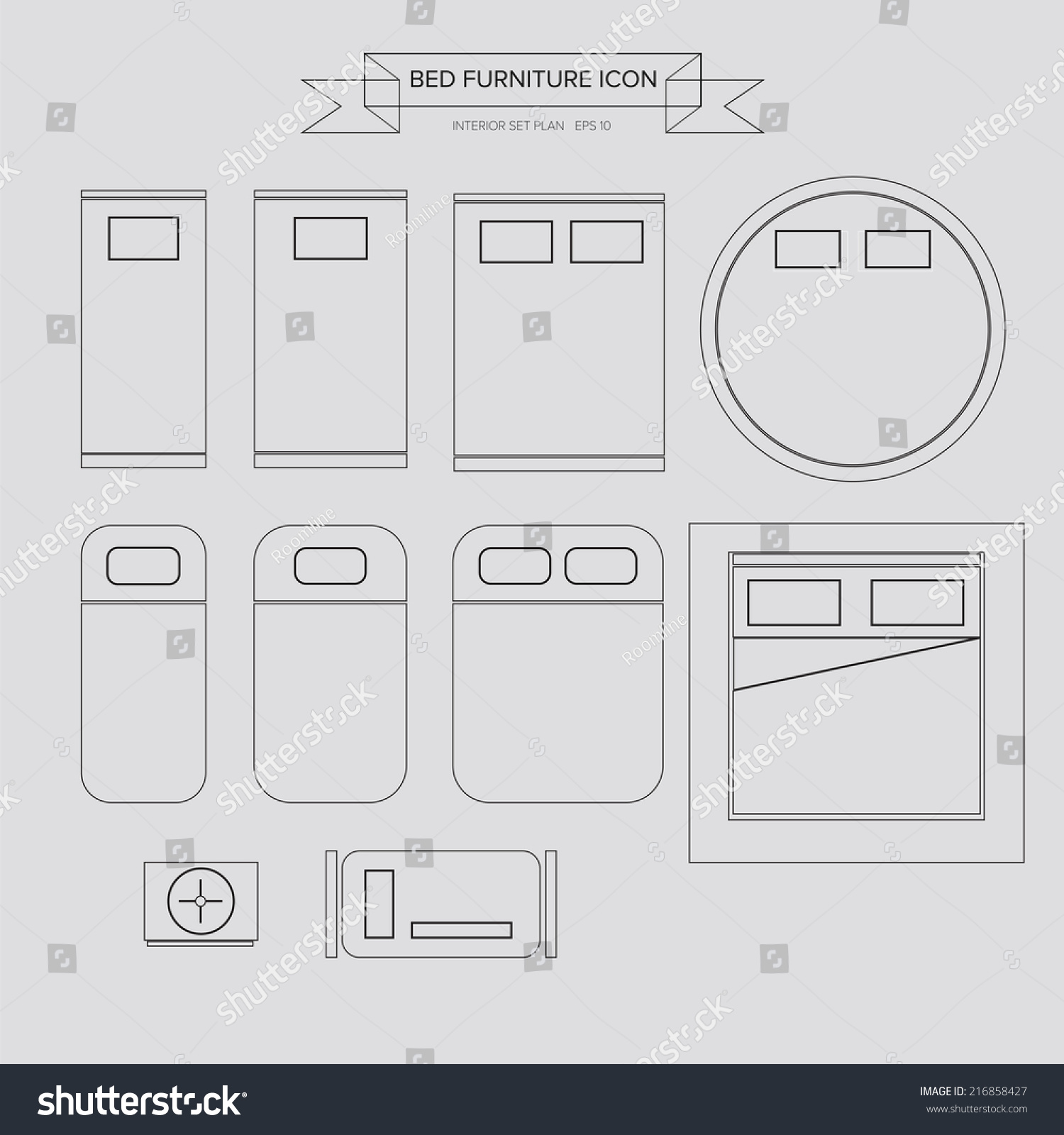 Bed design top view image - Bed Furniture Outline Icon Top View For Interior Plan Vector Eps10