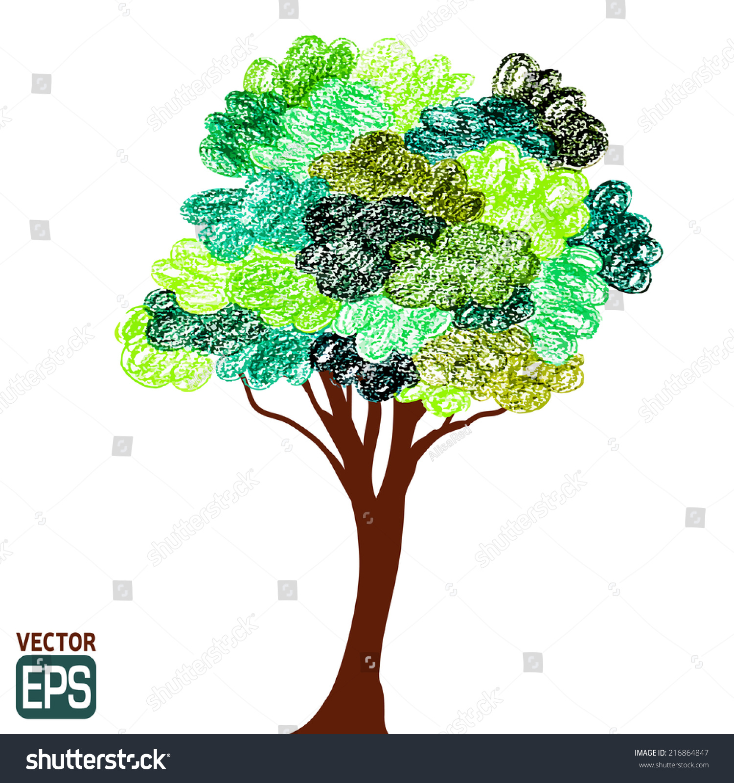 Color Pencils Drawings Tree Background Vector Stock Vector (Royalty ...