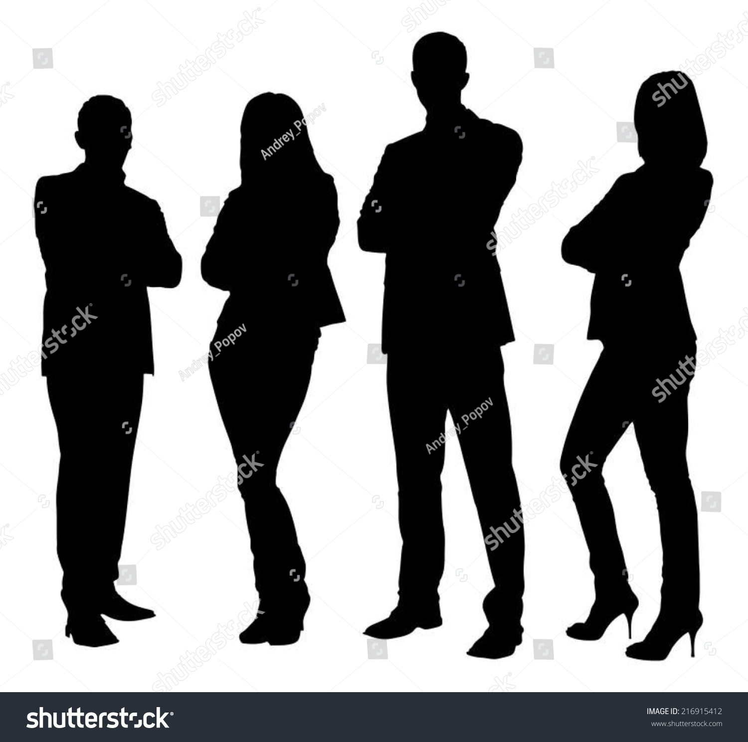 Full Length Silhouette Business People Standing Stock ...