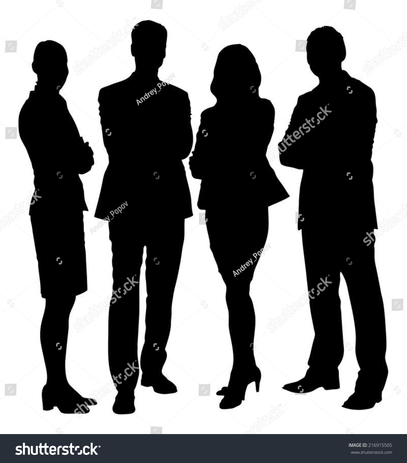 Full Length Silhouette Business People Standing Stock