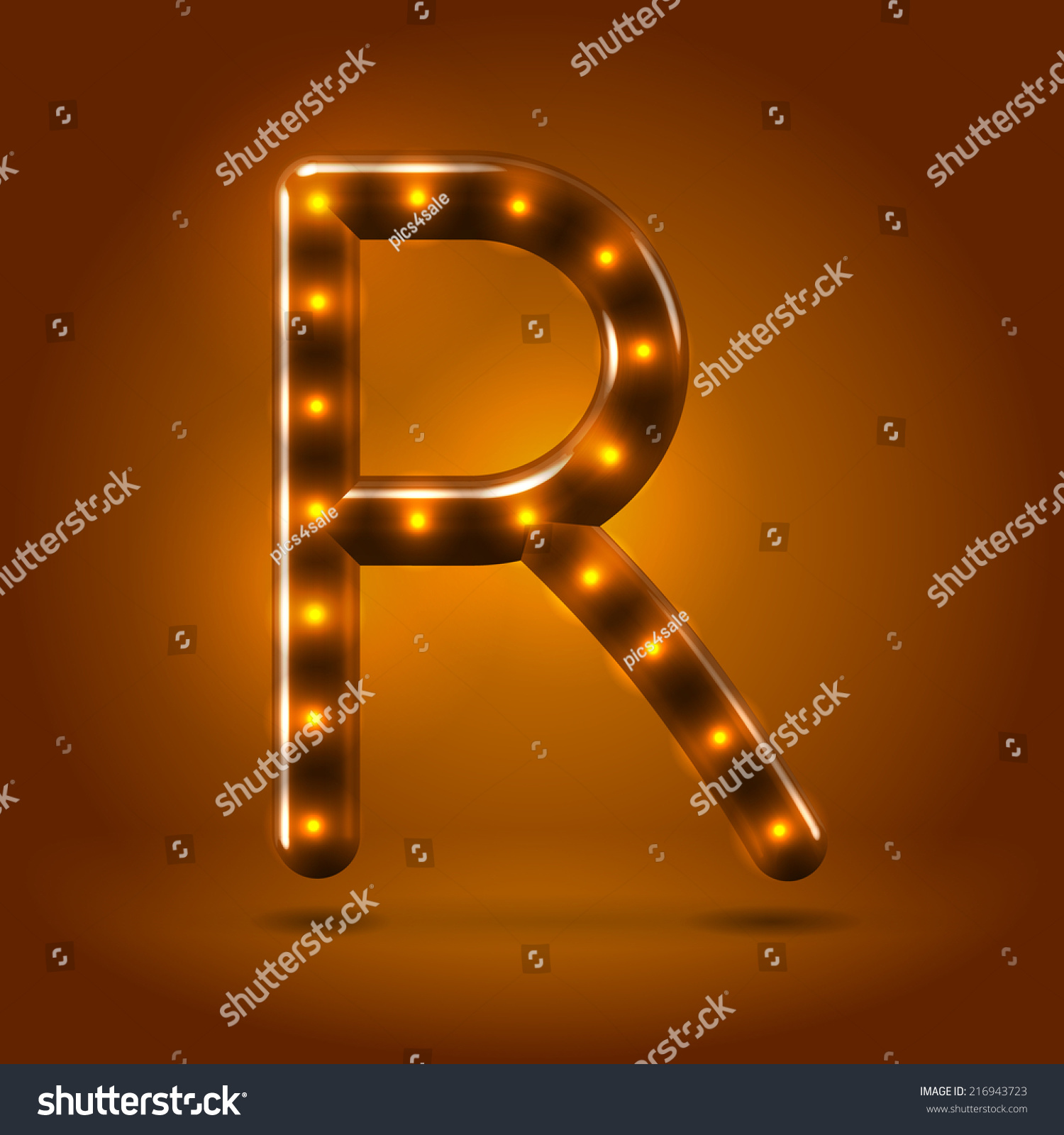 Glossy stylish sans serif lighted capital letter R letter over warm caramel  candy background  Autumn. Glossy Stylish Sans Serif Lighted Capital Stock Vector 216943723