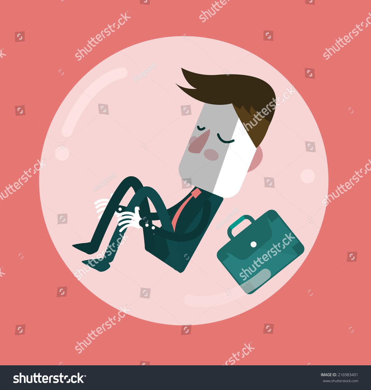 businessman sleep comfort zone balloon egoism stock vector 216983401 shutterstock. Black Bedroom Furniture Sets. Home Design Ideas
