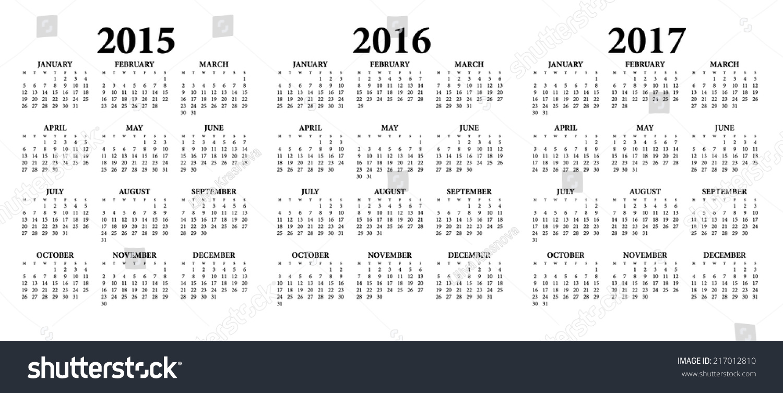2015 2016 2017 Calendarweeks Start On Stock Vector 217012810 ...