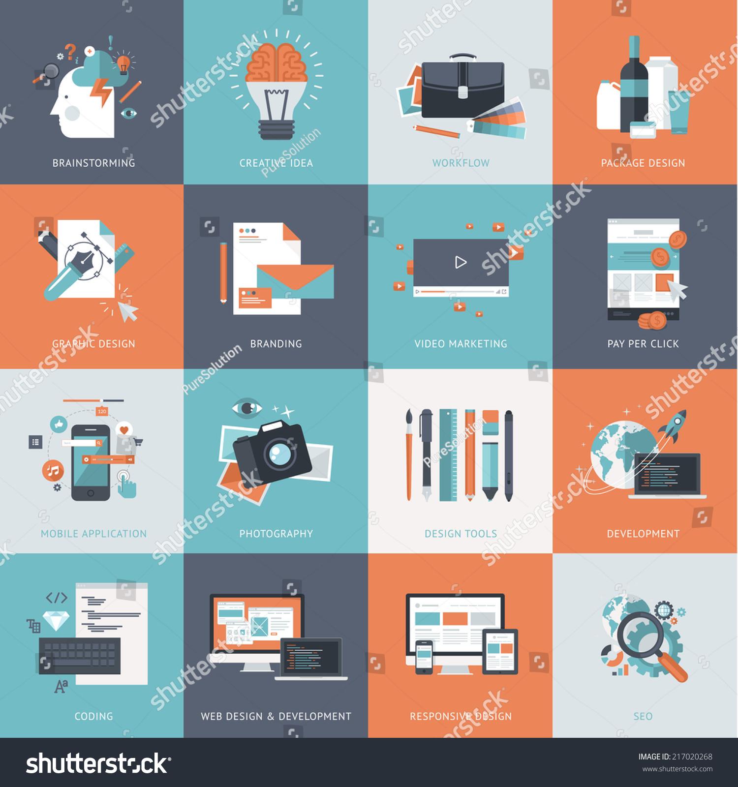 Calendar Concepts Graphic Design : Set flat design concept icons website stock vector