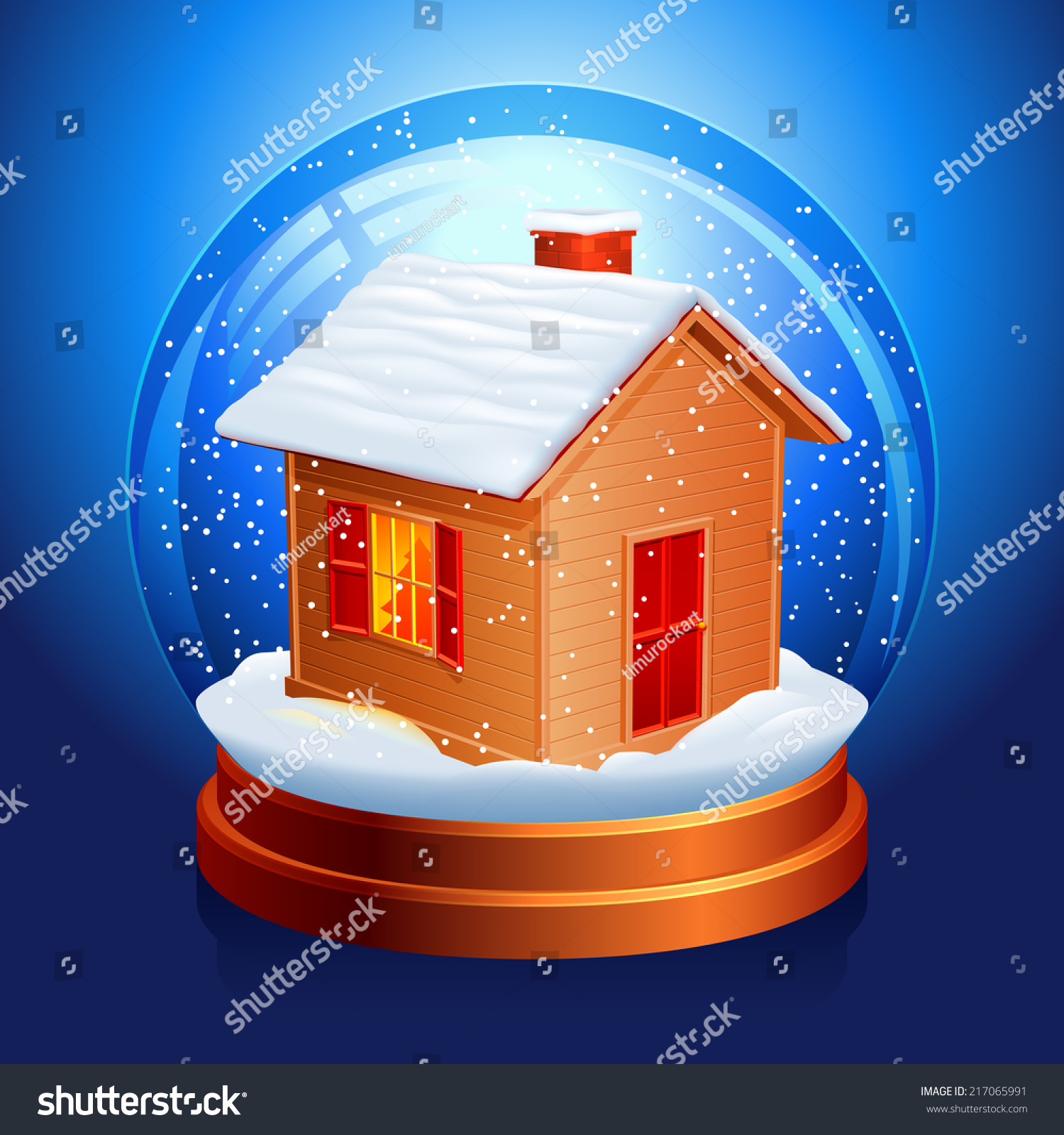 Snow globe with a little house inside