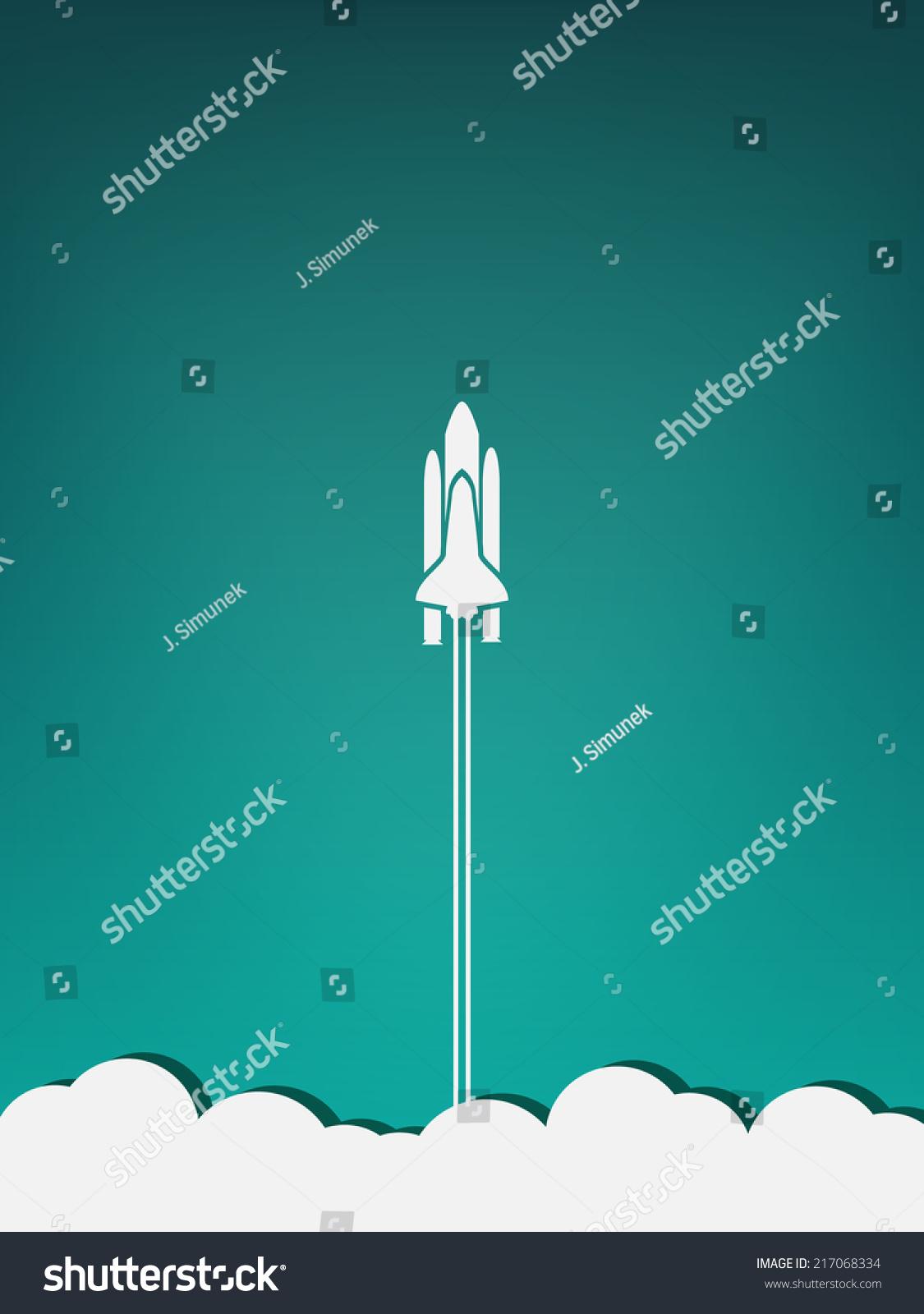 Spaceship Take Off Minimalist Poster Stock Vector ...