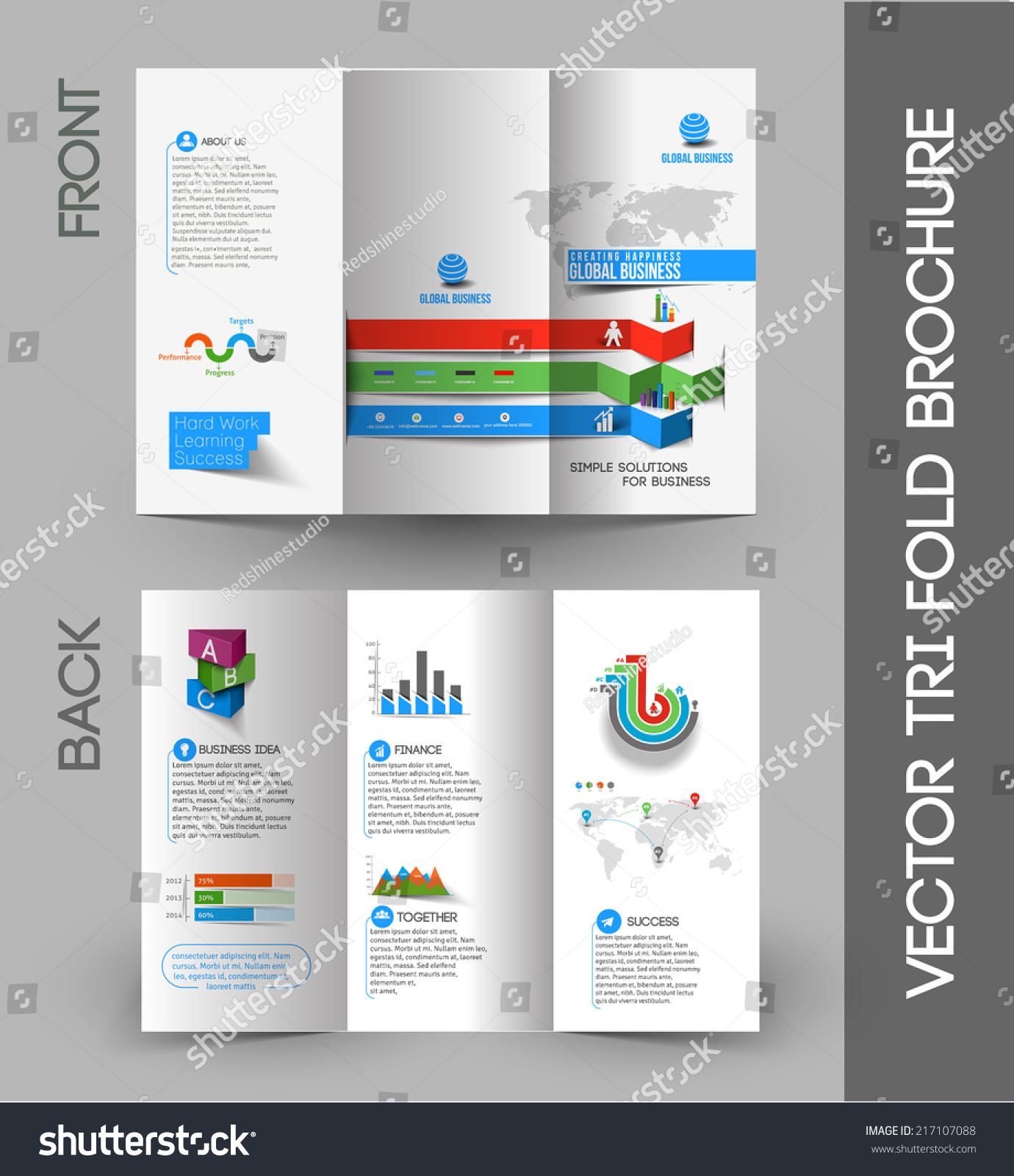 Business Infographic Trifold Brochure Design Element Stock Vector ...