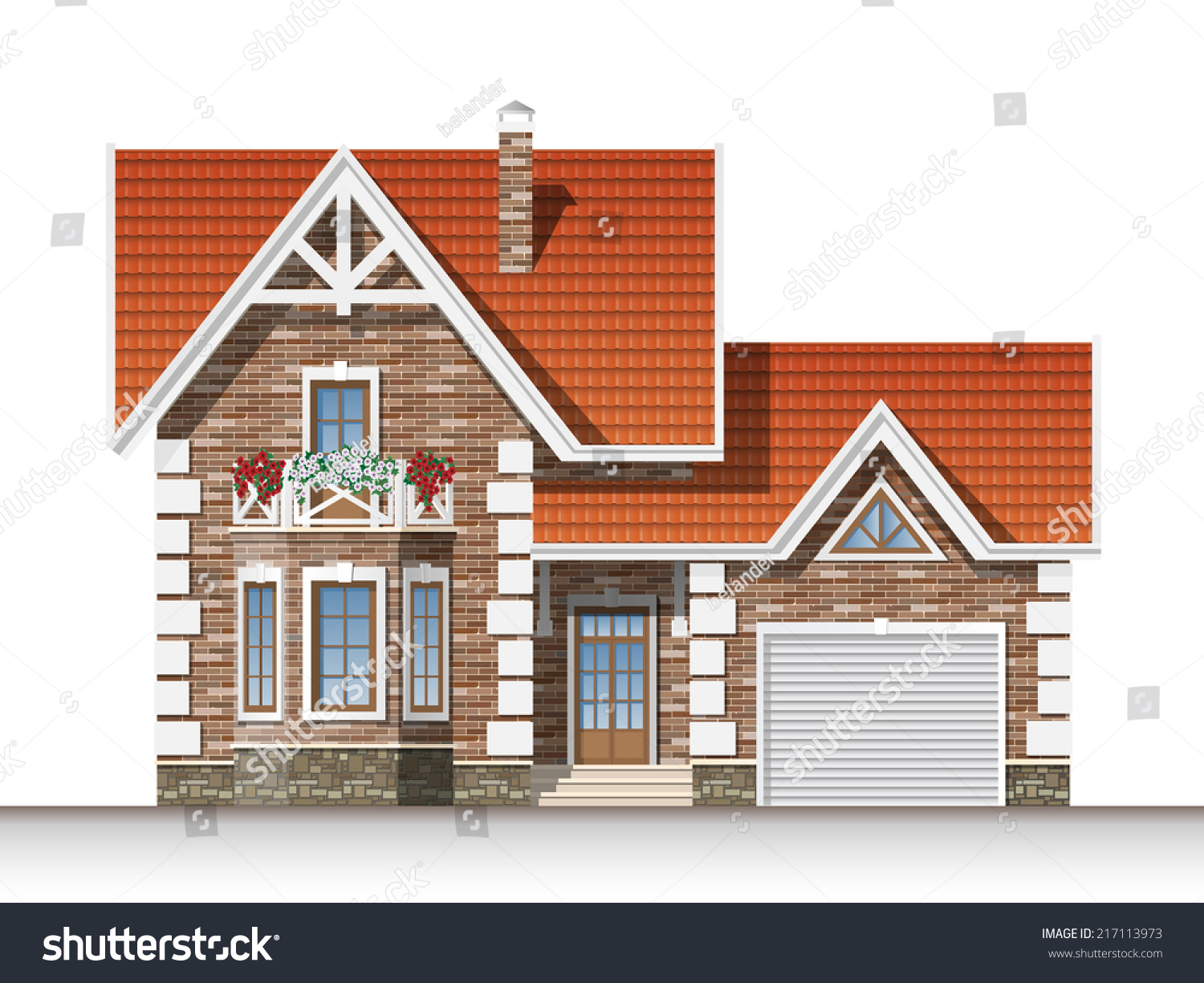 Front Elevation With Garage : Beautiful residential brick house mansard garage stock