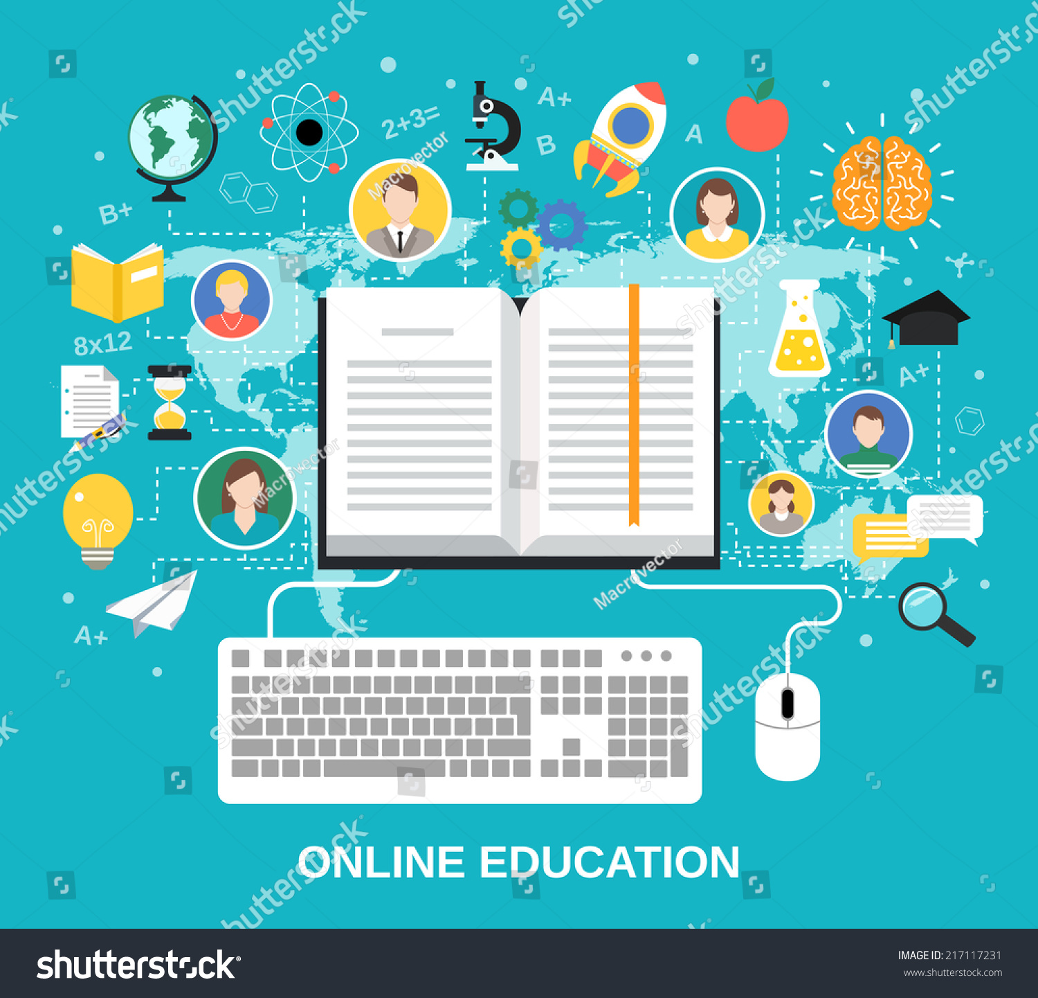 Online education e-learning science concept with book computer and ...