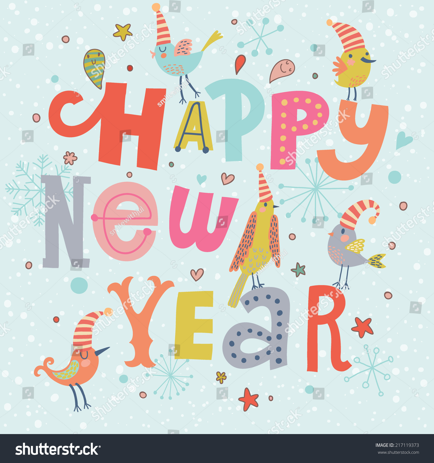 fantastic happy new year card in vector cute stylish birds on handmade text in cartoon