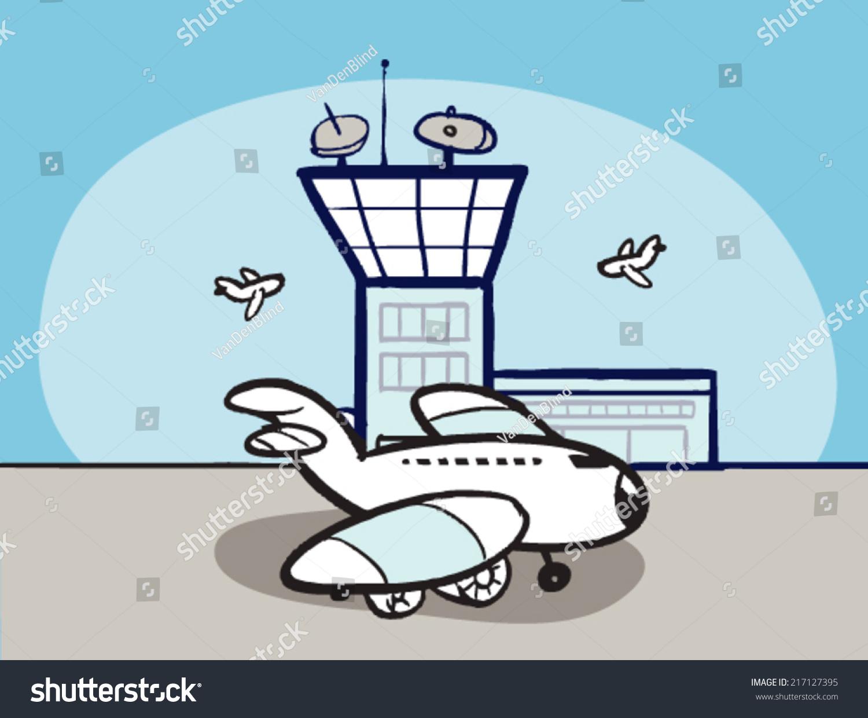 cartoon airport airplane stock vector 217127395 shutterstock