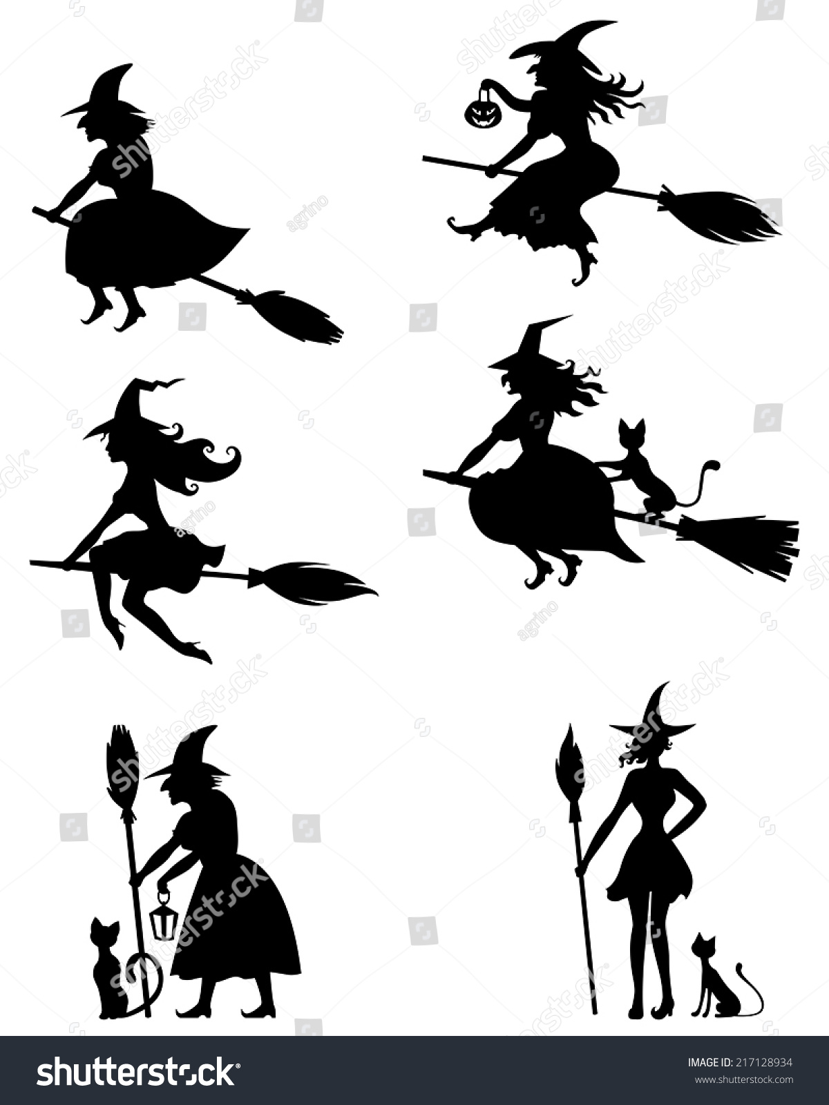 set silhouette blackandwhite image halloween witches stock vector