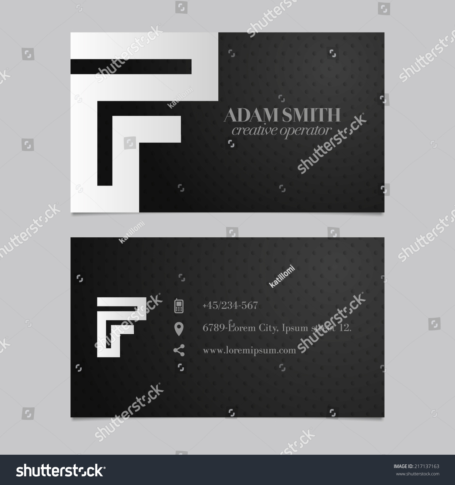 Elegant Vector Graphic Business Card With Alphabet