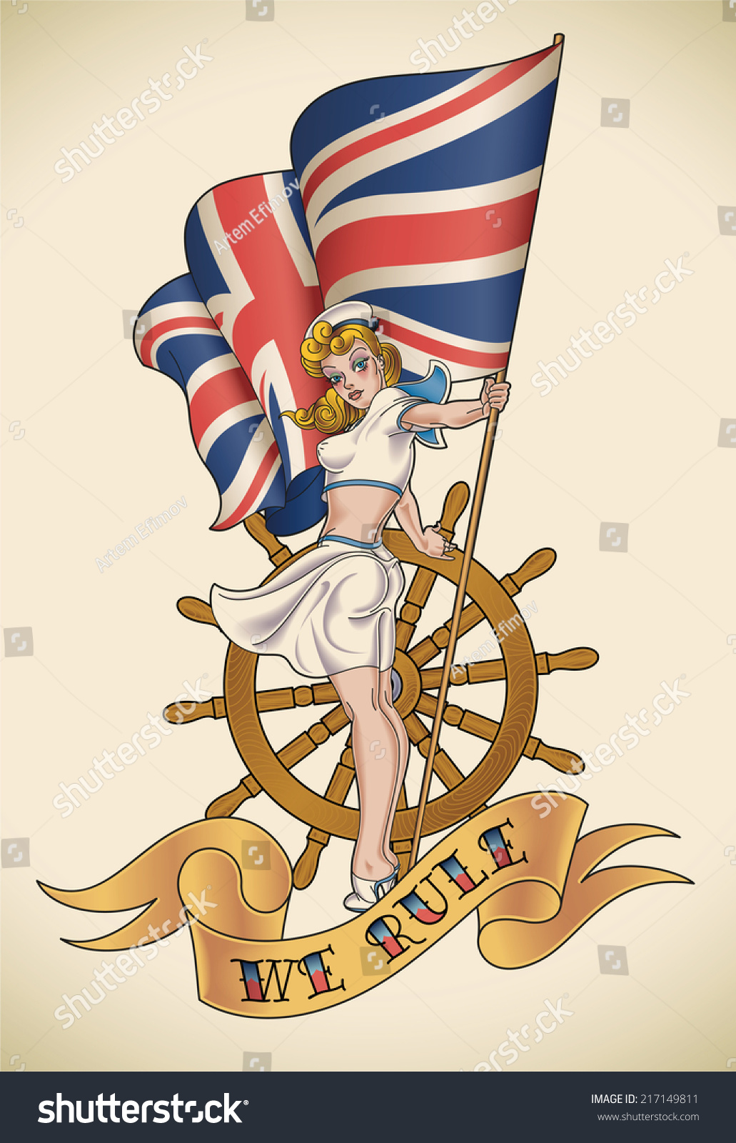 Oldschool navy tattoo pinup lady union stock illustration old school navy tattoo of a pin up lady with the union jack in buycottarizona