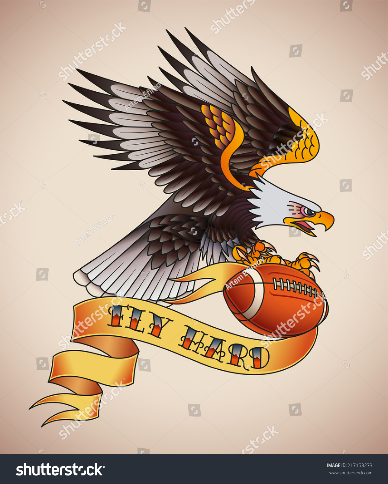 american football tattoo design of an eagle with a leather ball in its claws raster. Black Bedroom Furniture Sets. Home Design Ideas
