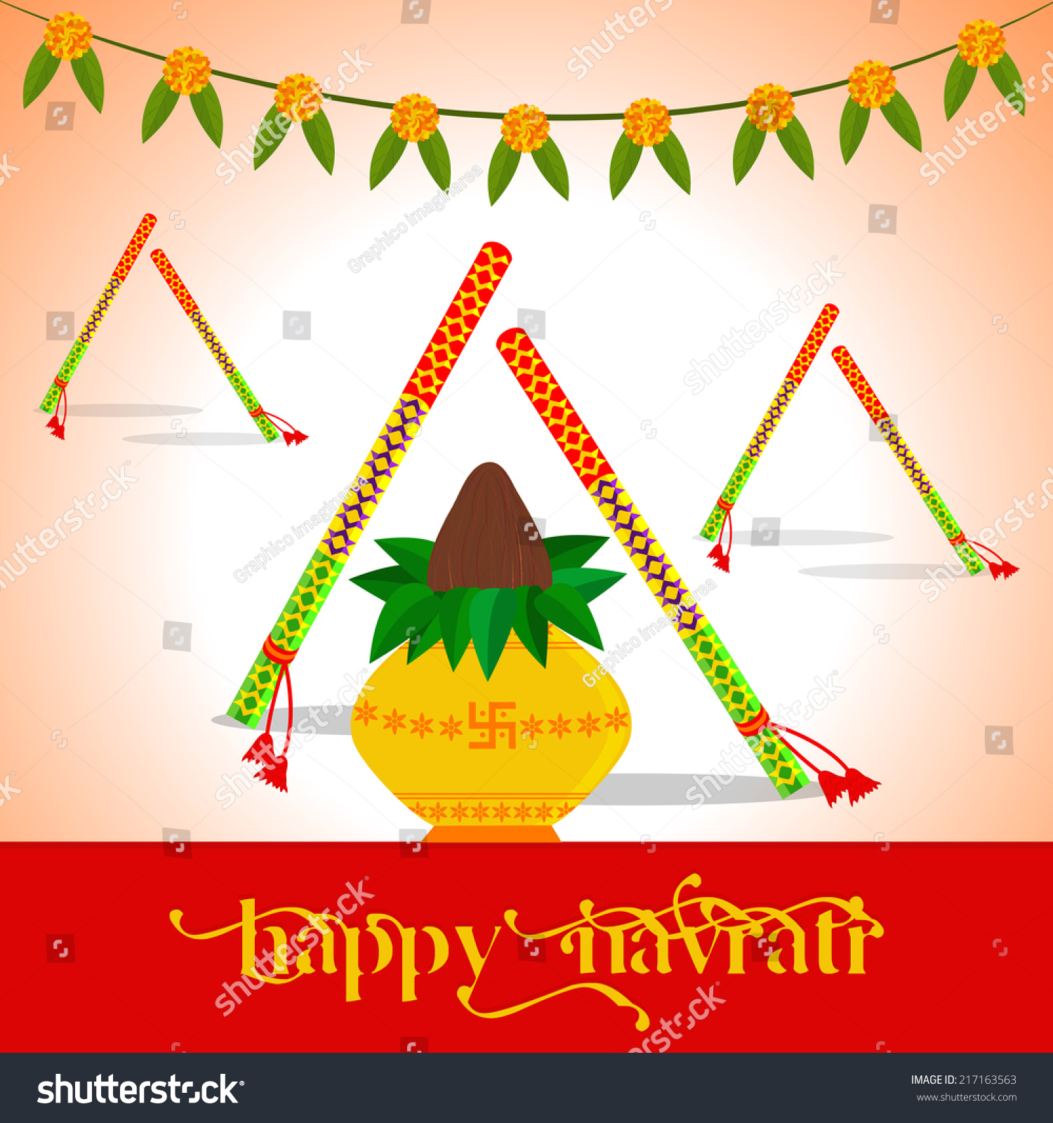 Indian Festival Decoration Illustration Decorated Dandiya Indian Festival Navratri Stock