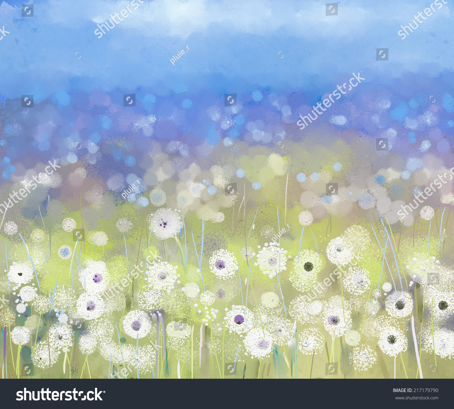 Abstract oil painting white flowers field stock illustration abstract oil painting white flowers field in soft color oil paintings white dandelion flower in mightylinksfo