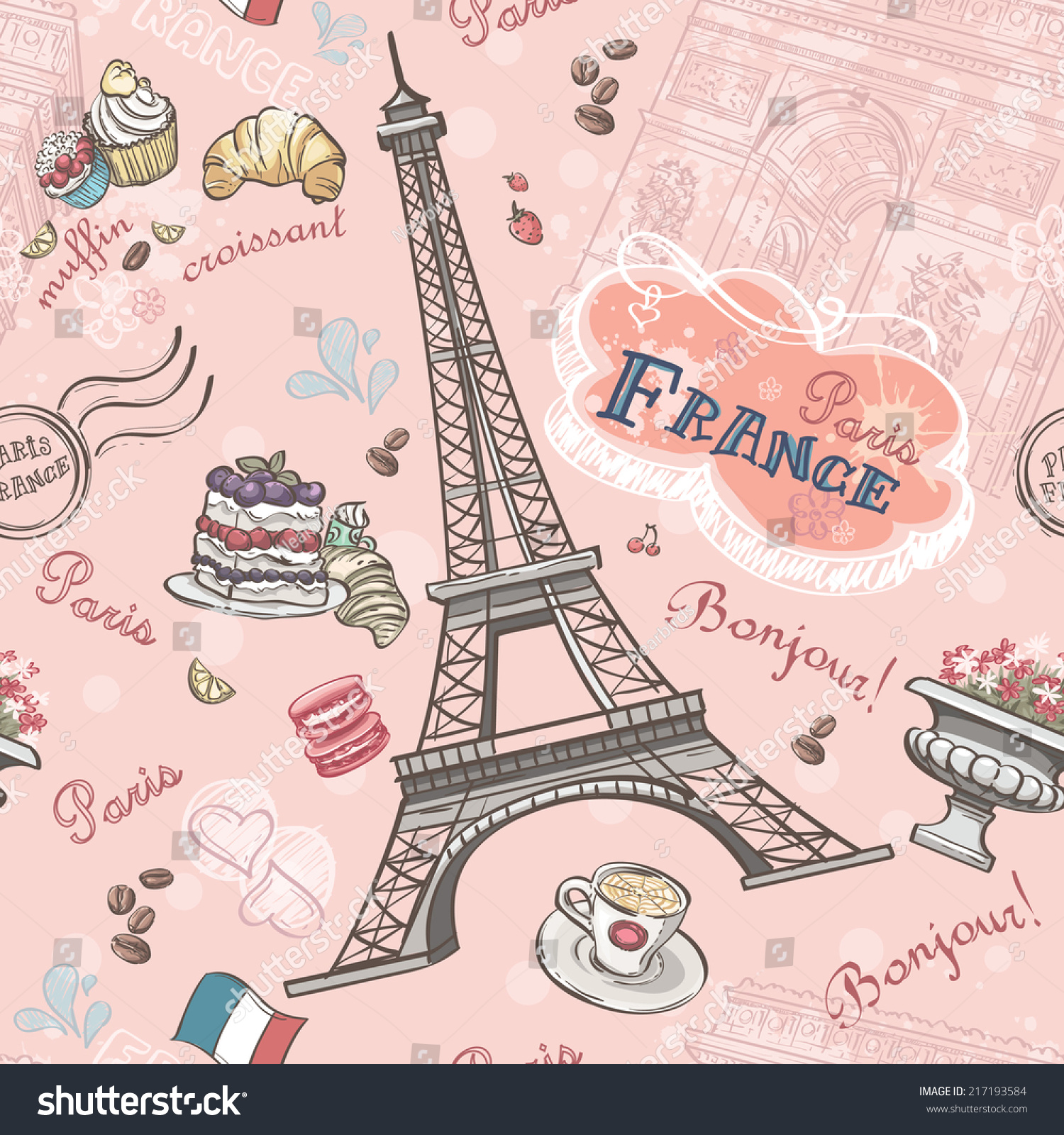 Immagine Vettoriale A Tema Seamless Pattern On Paris Romantic