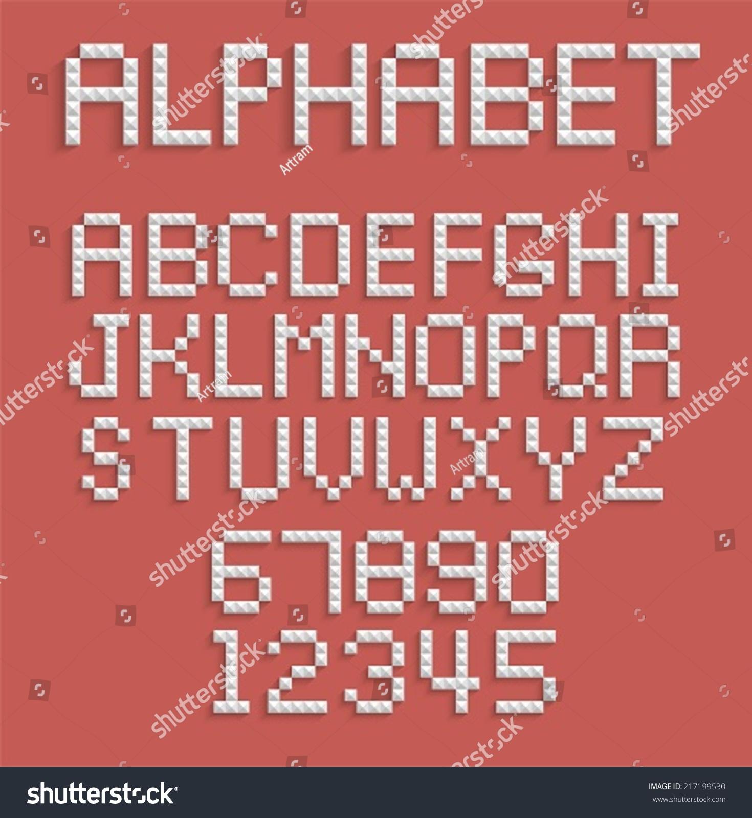 pixel alphabet numbers letters stock vector 217199530 shutterstock