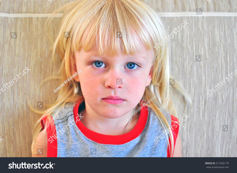 Portrait Small Boy Blonde Hair Blue Stock Photo 217202179