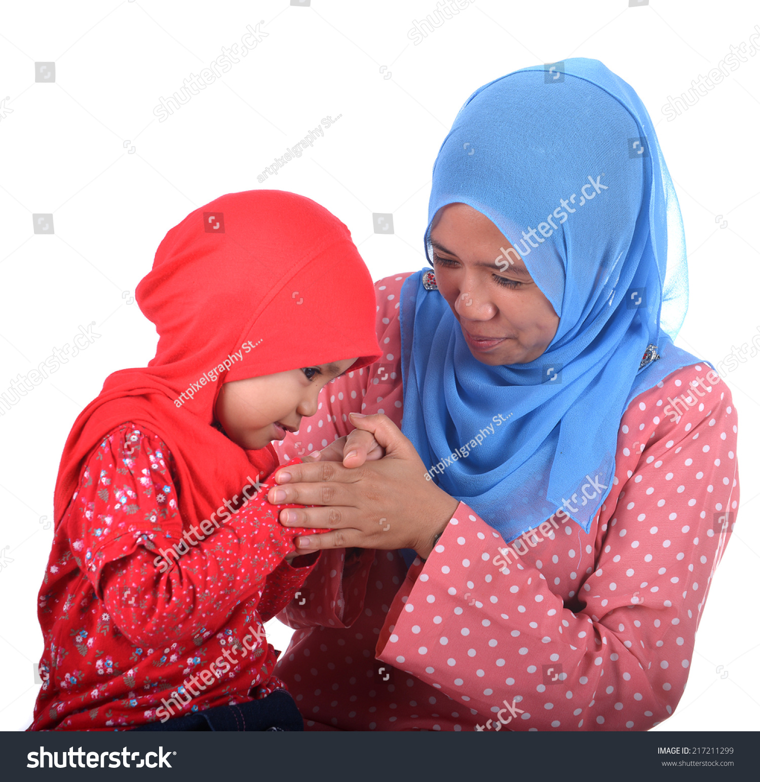Child Muslim Women Greeting Elders Mother Stock Photo Edit Now