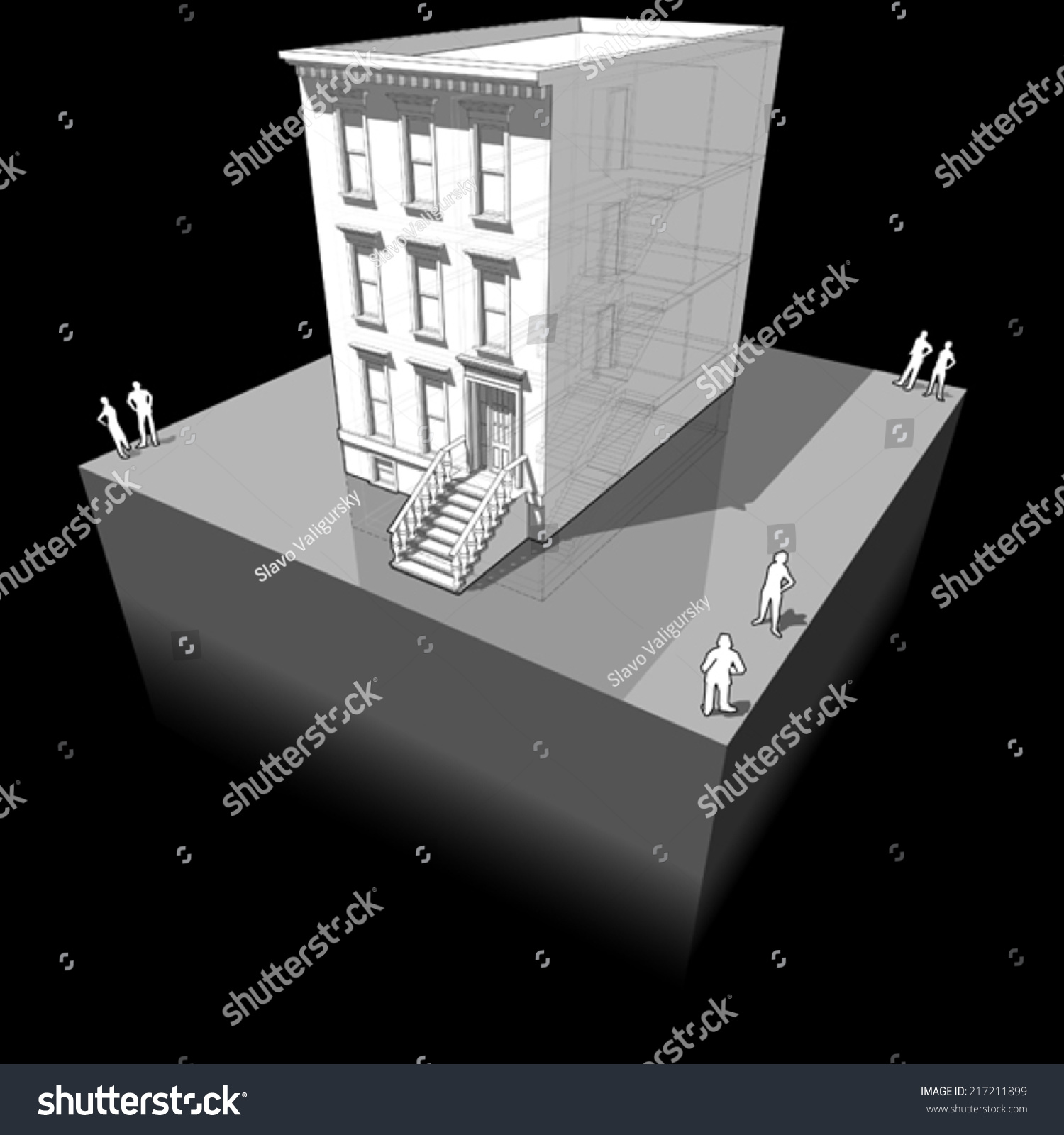 Diagram Typical American Townhouse Known Brownstone Stock Vector ...