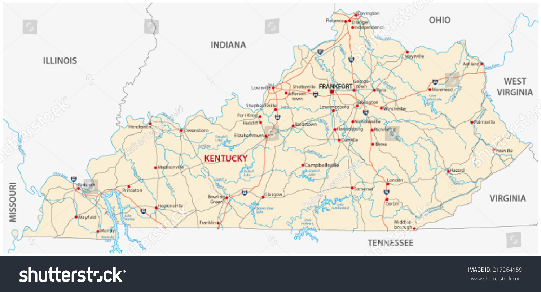 Kentucky Road Map Stock Vector (Royalty Free) 217264159
