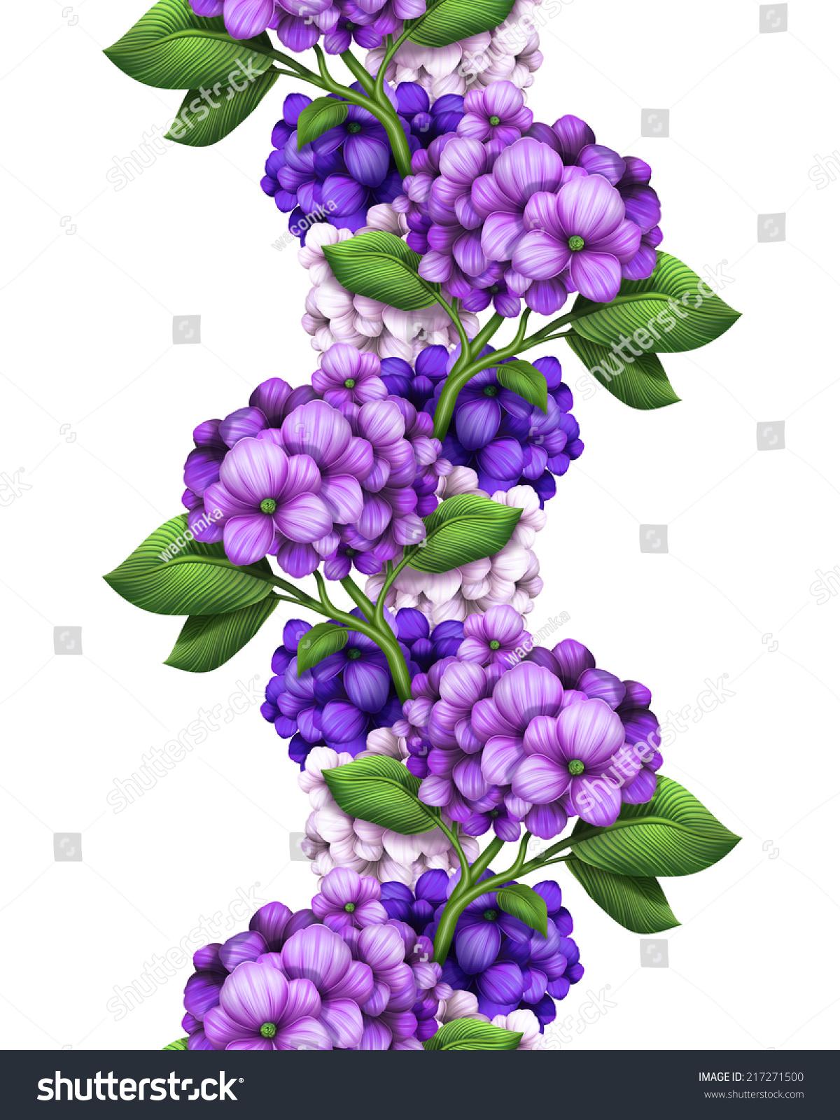 Abstract Purple Hydrangea Vertical Garland Seamless Stock